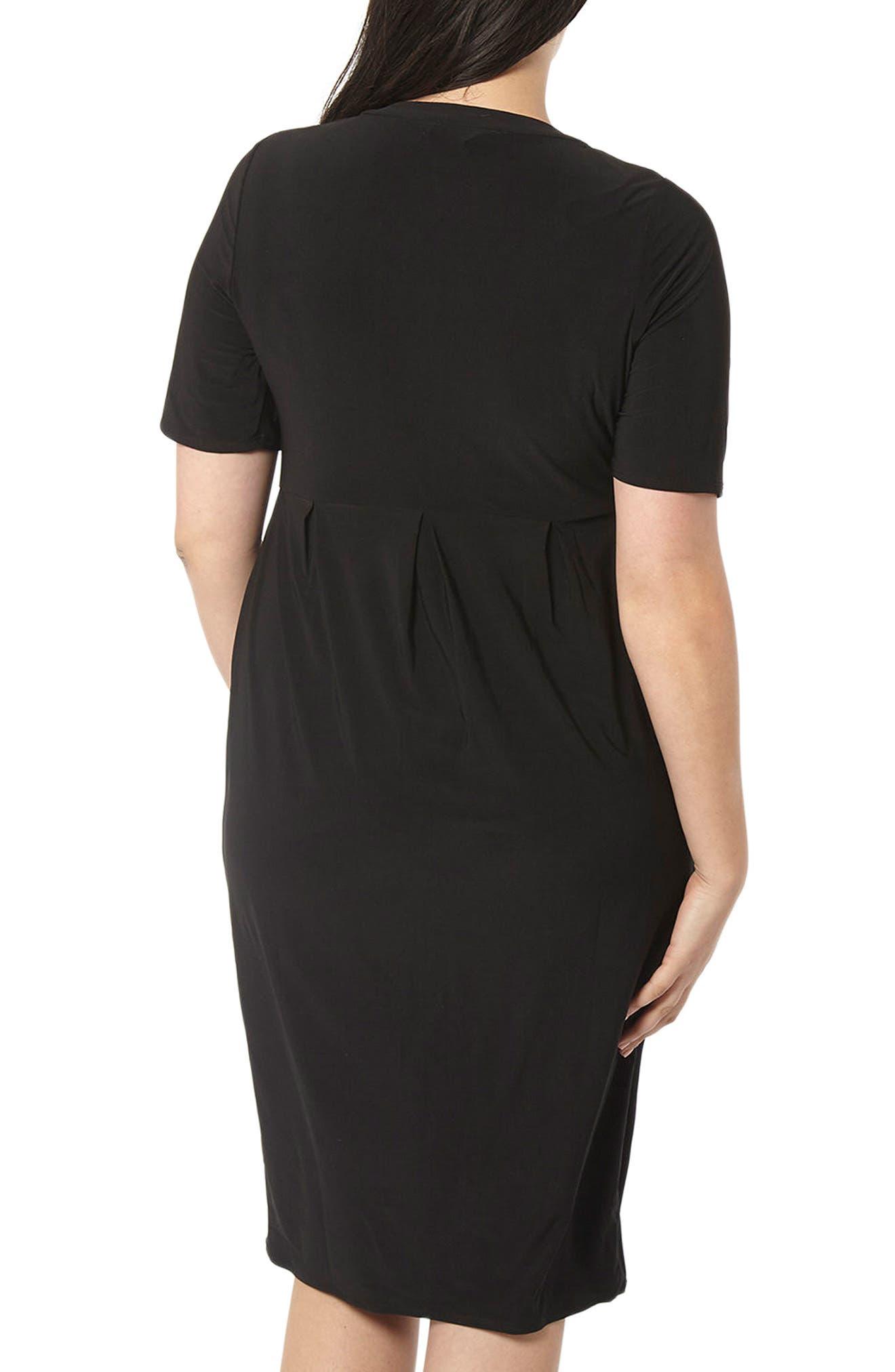 Pleat Jersey Dress,                             Alternate thumbnail 3, color,                             Black