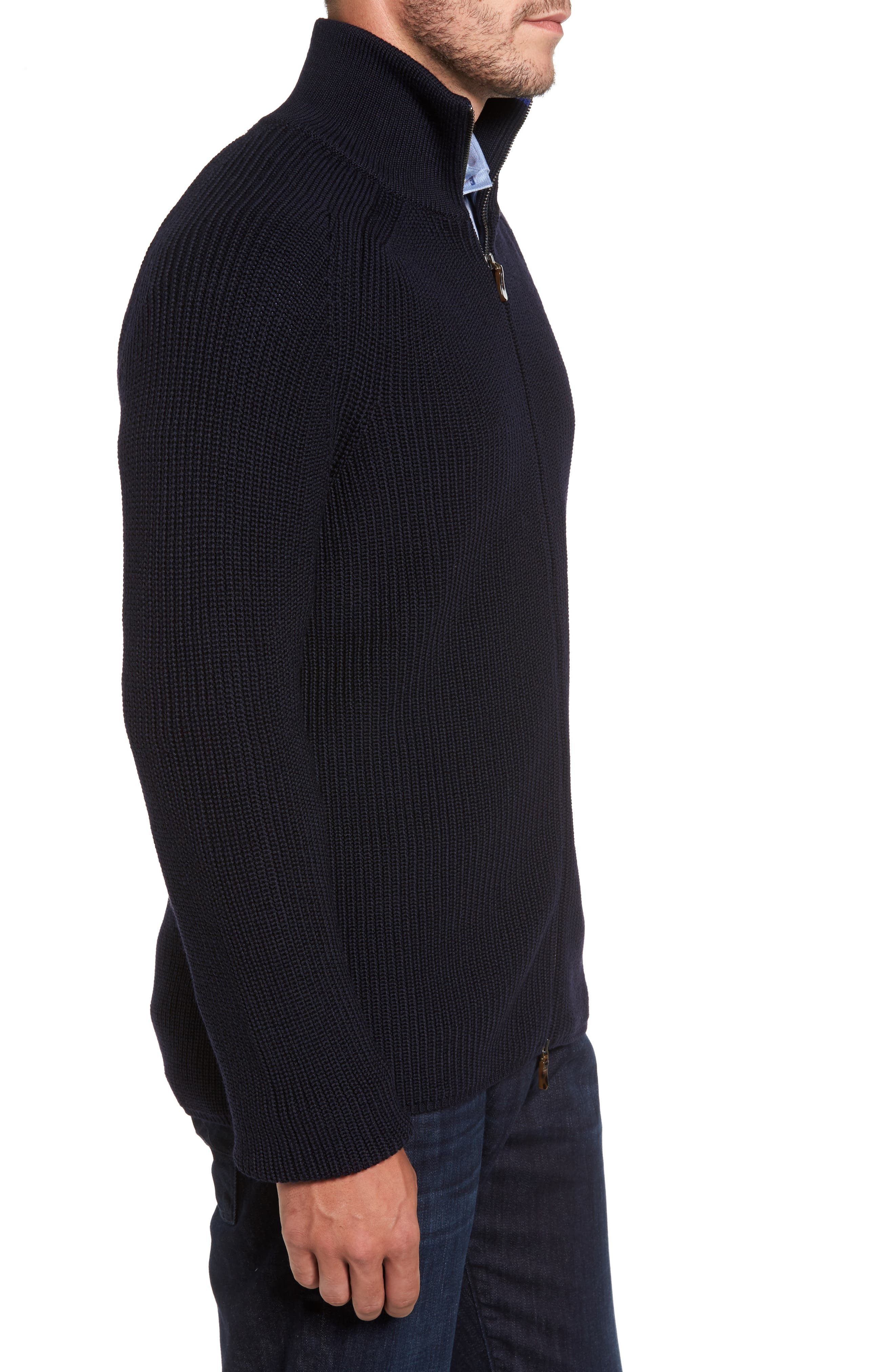 Shaker Stitch Wool Zip Cardigan,                             Alternate thumbnail 3, color,                             Navy