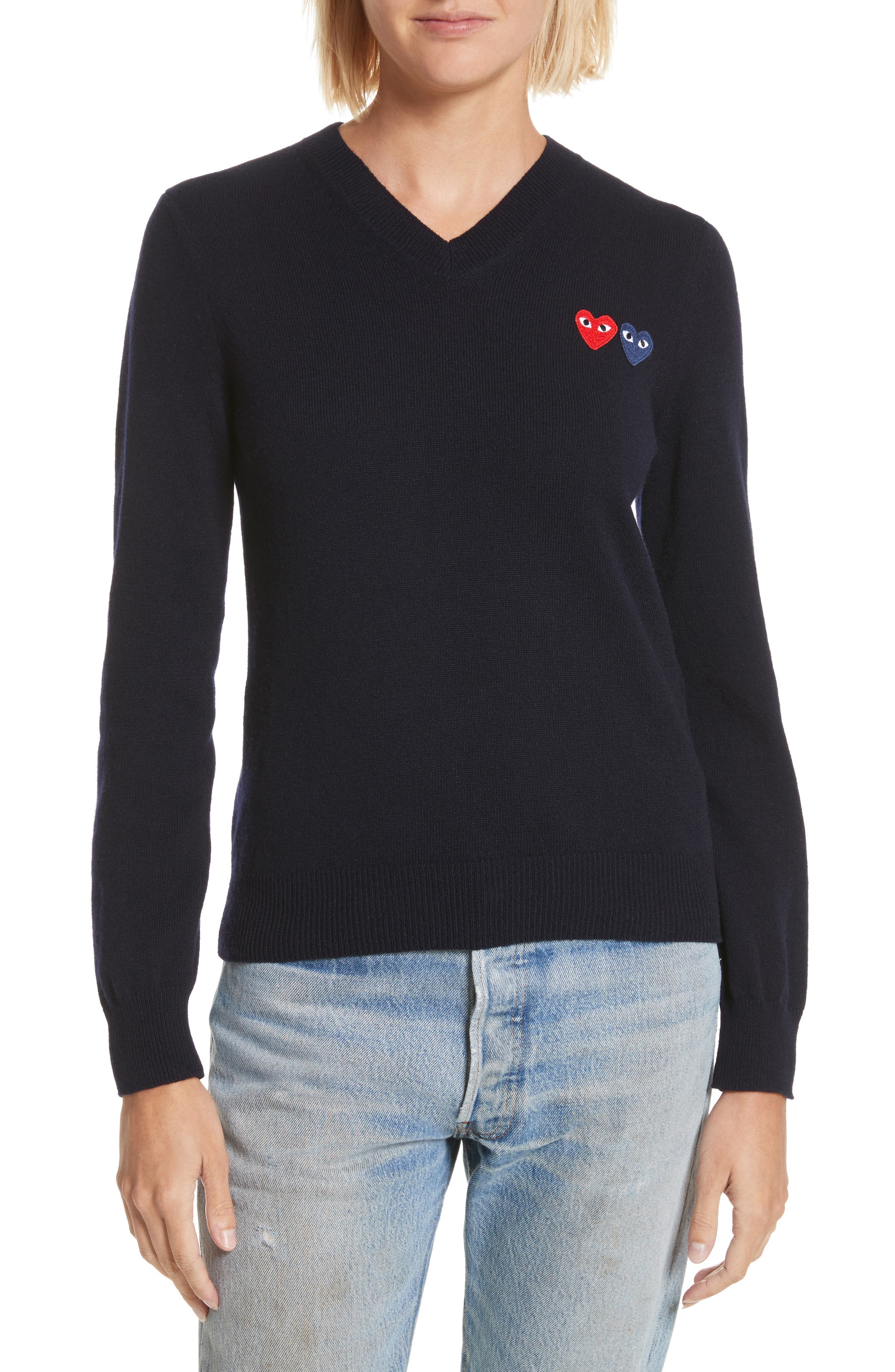PLAY Double Heart Wool Sweater,                         Main,                         color, Navy