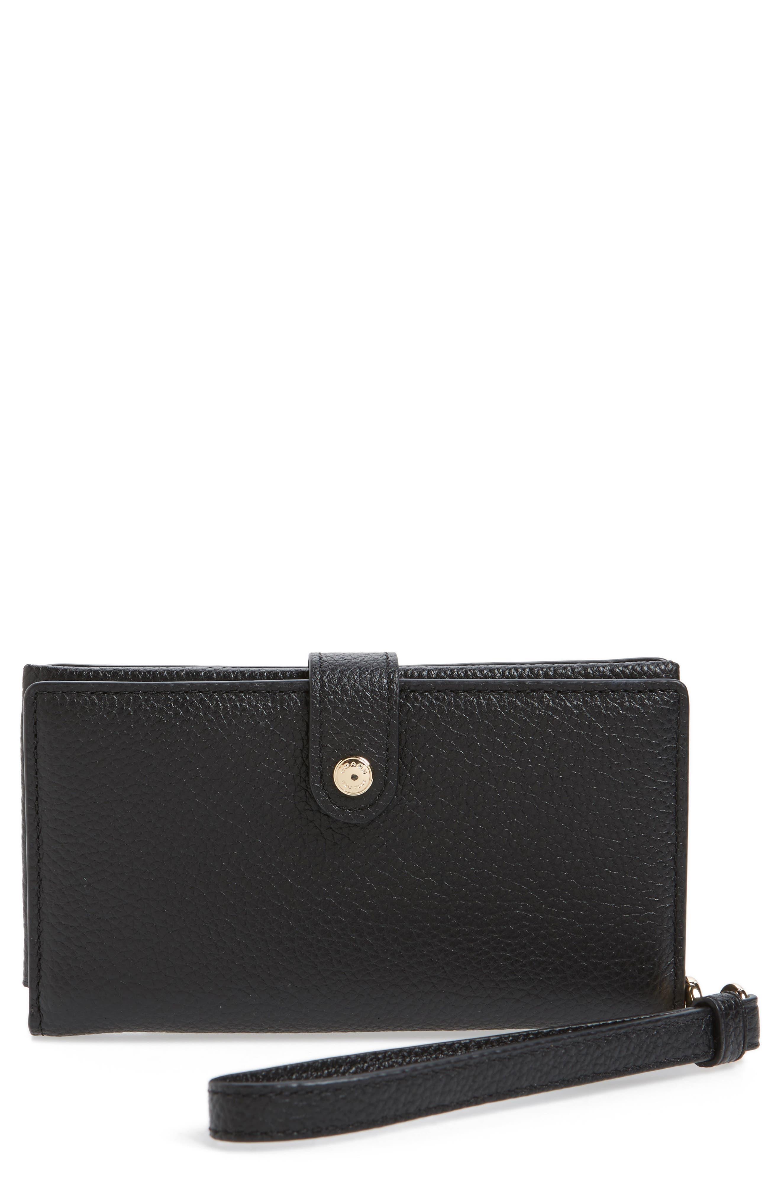 Calfskin Leather Phone Wristlet,                         Main,                         color, Black