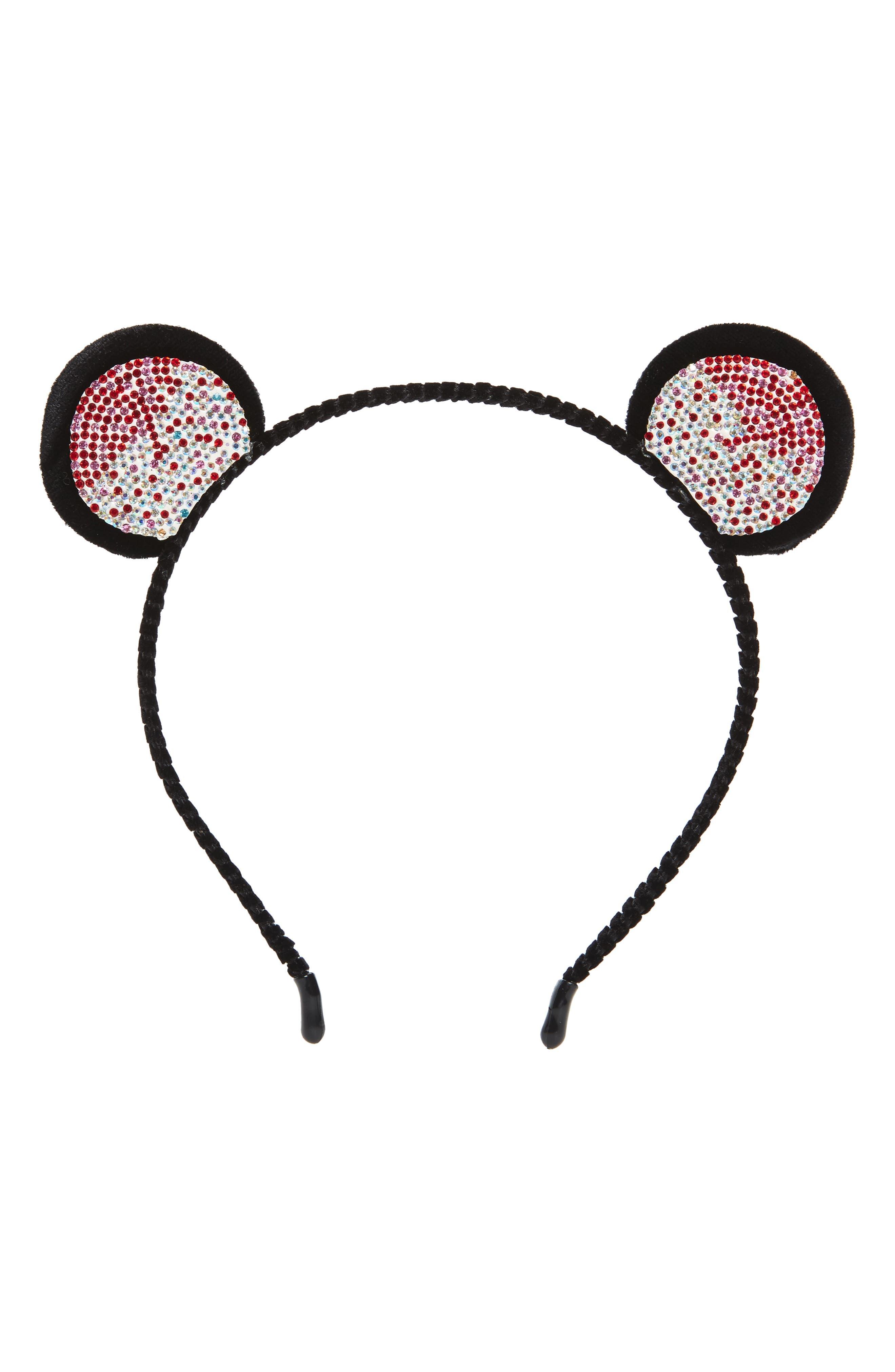 Crystal Bear Ear Headband,                             Main thumbnail 1, color,                             Black