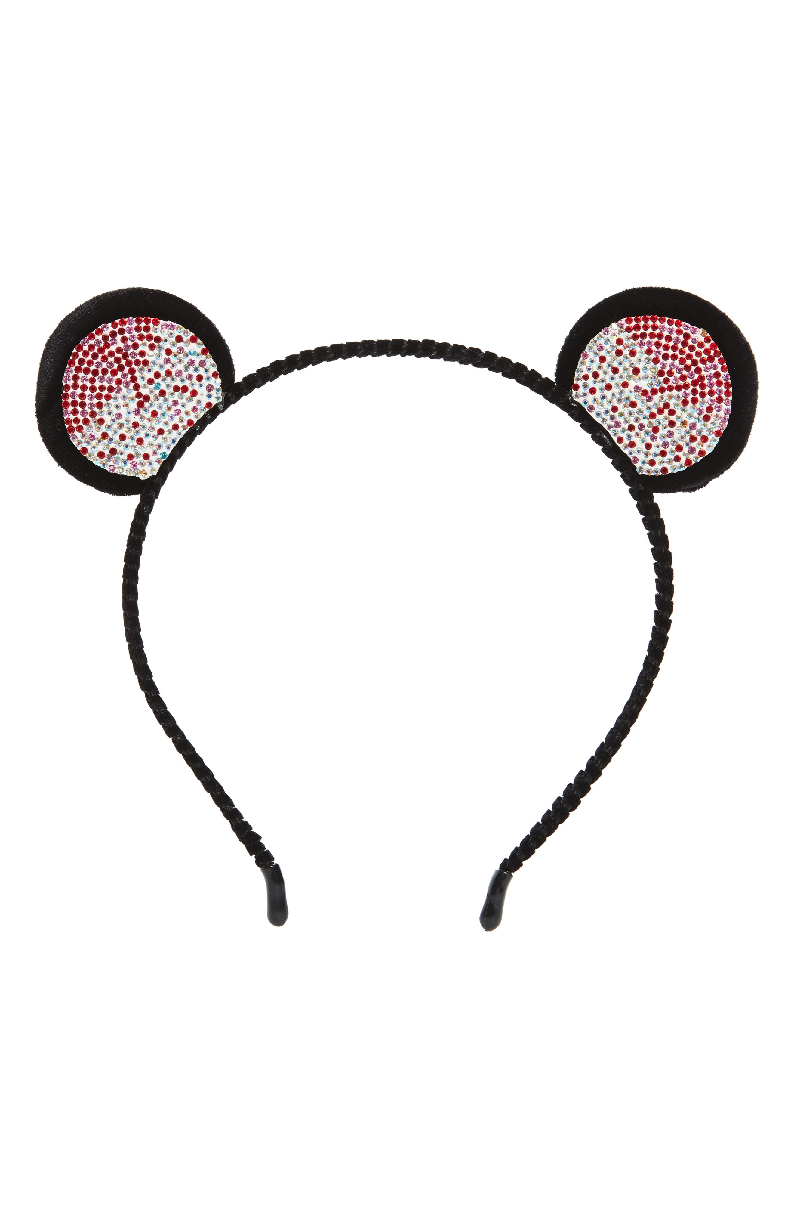Crystal Bear Ear Headband,                         Main,                         color, Black