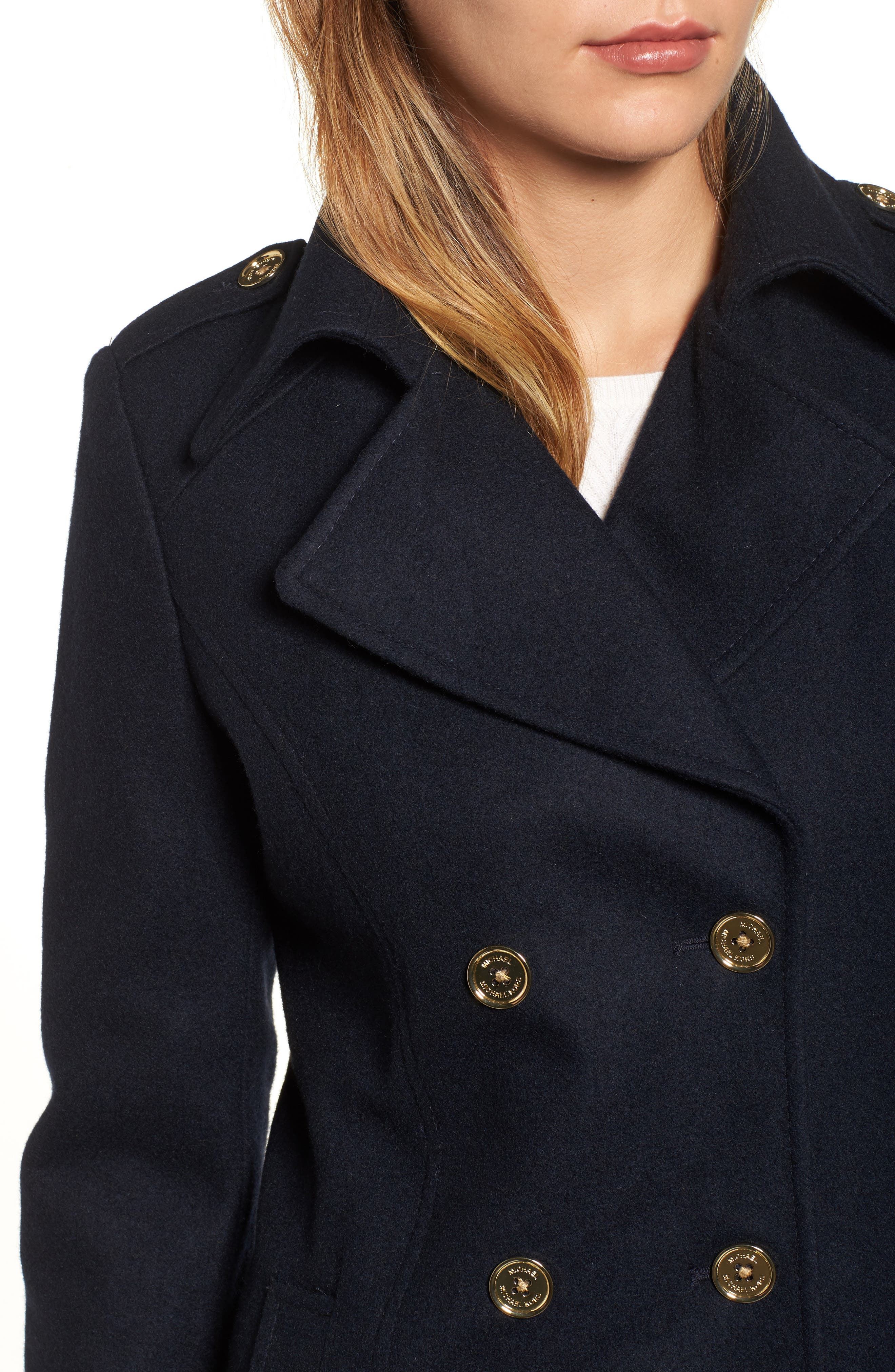 Double Breasted Wool Blend Peacoat,                             Alternate thumbnail 4, color,                             Navy