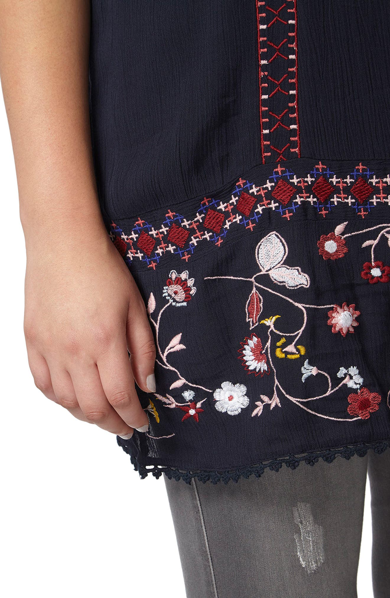 Embroidered Tunic,                             Alternate thumbnail 3, color,                             Navy