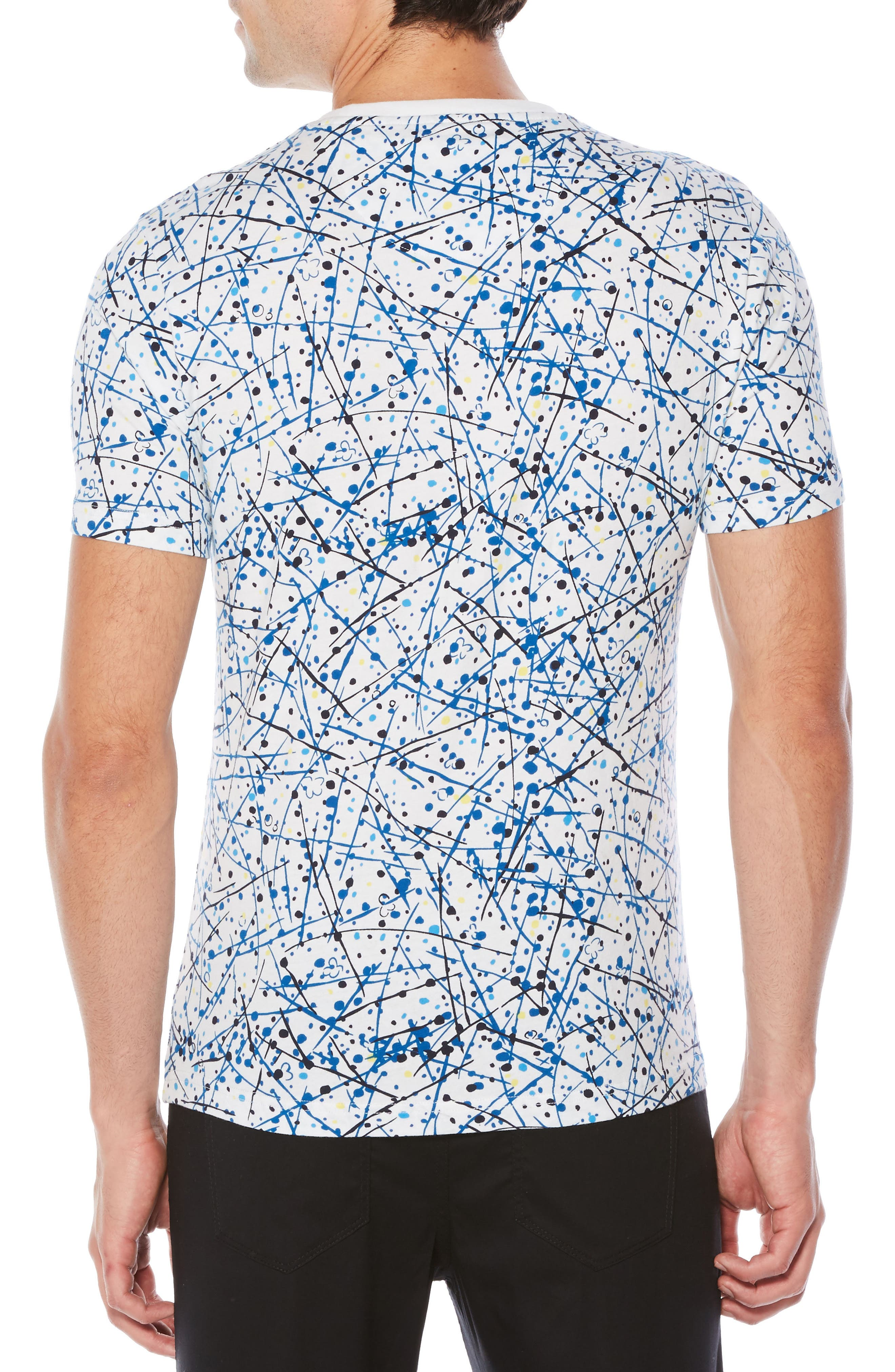 Allover Splatter Print T-Shirt,                             Alternate thumbnail 2, color,                             Bright White