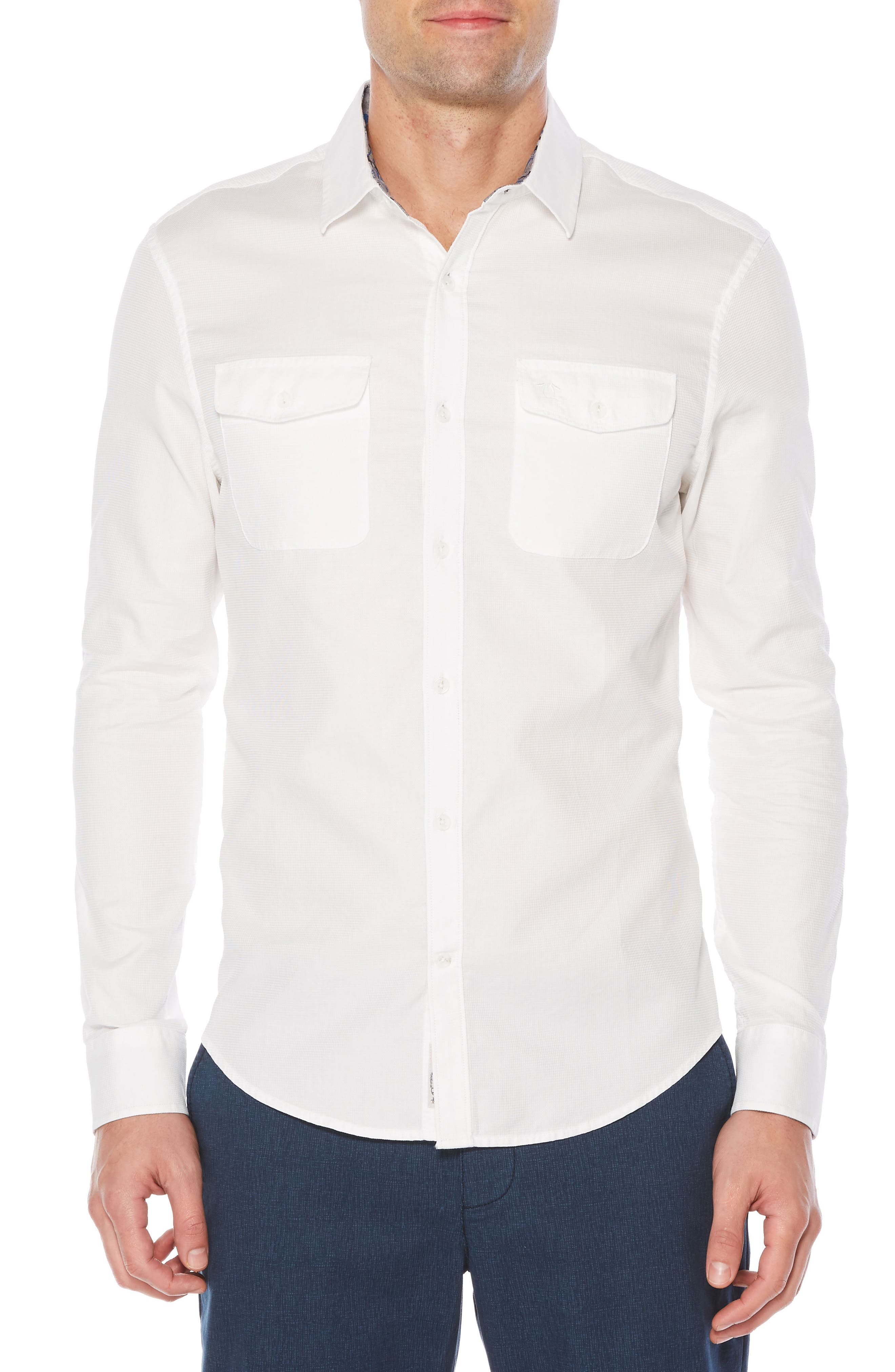 Woven Shirt,                         Main,                         color, Bright White
