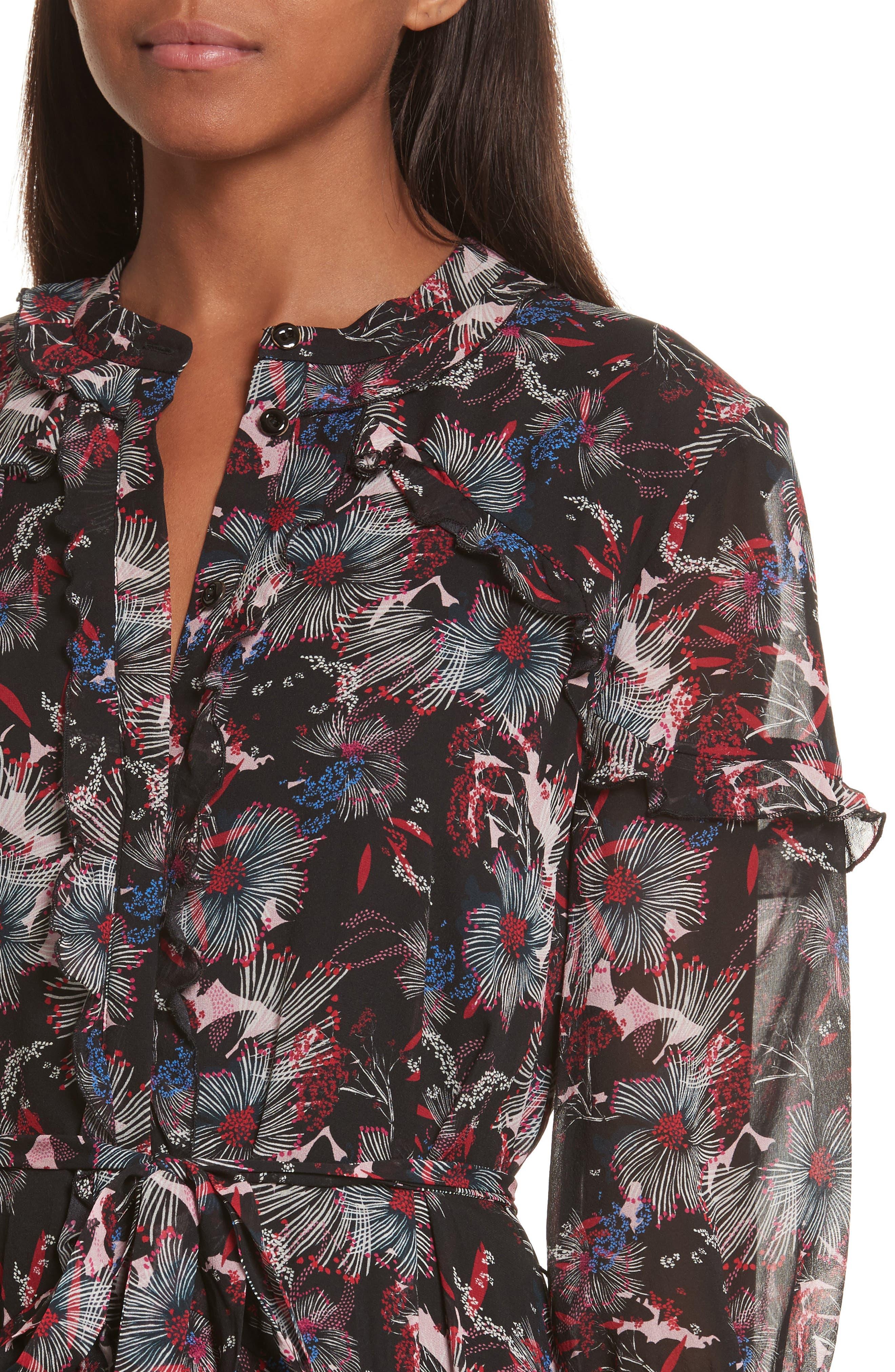 Alternate Image 4  - SALONI Tilly Ruffle Silk Dress