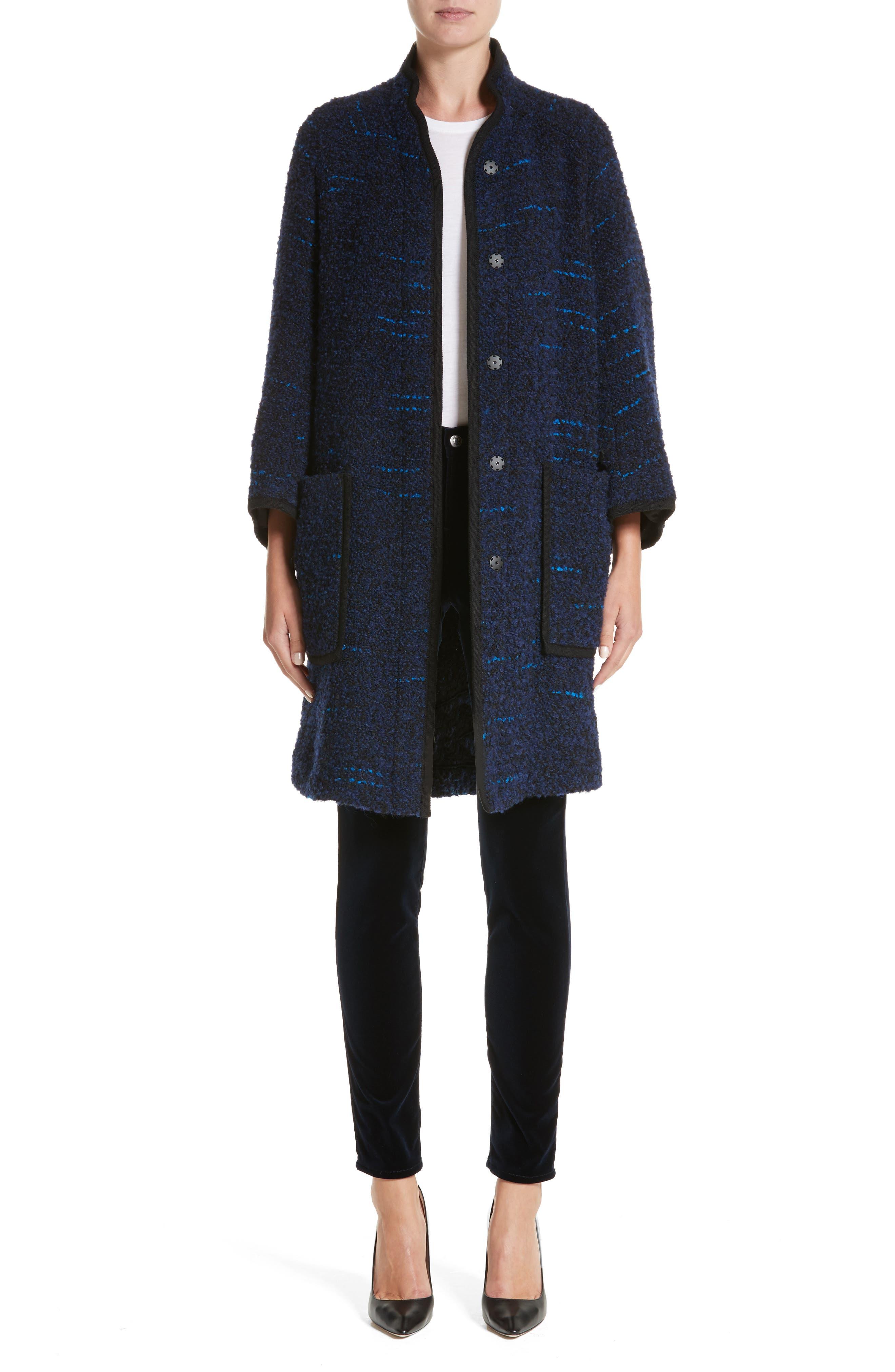 Wool Blend Swing Coat,                             Alternate thumbnail 7, color,                             Navy / Blue Multi