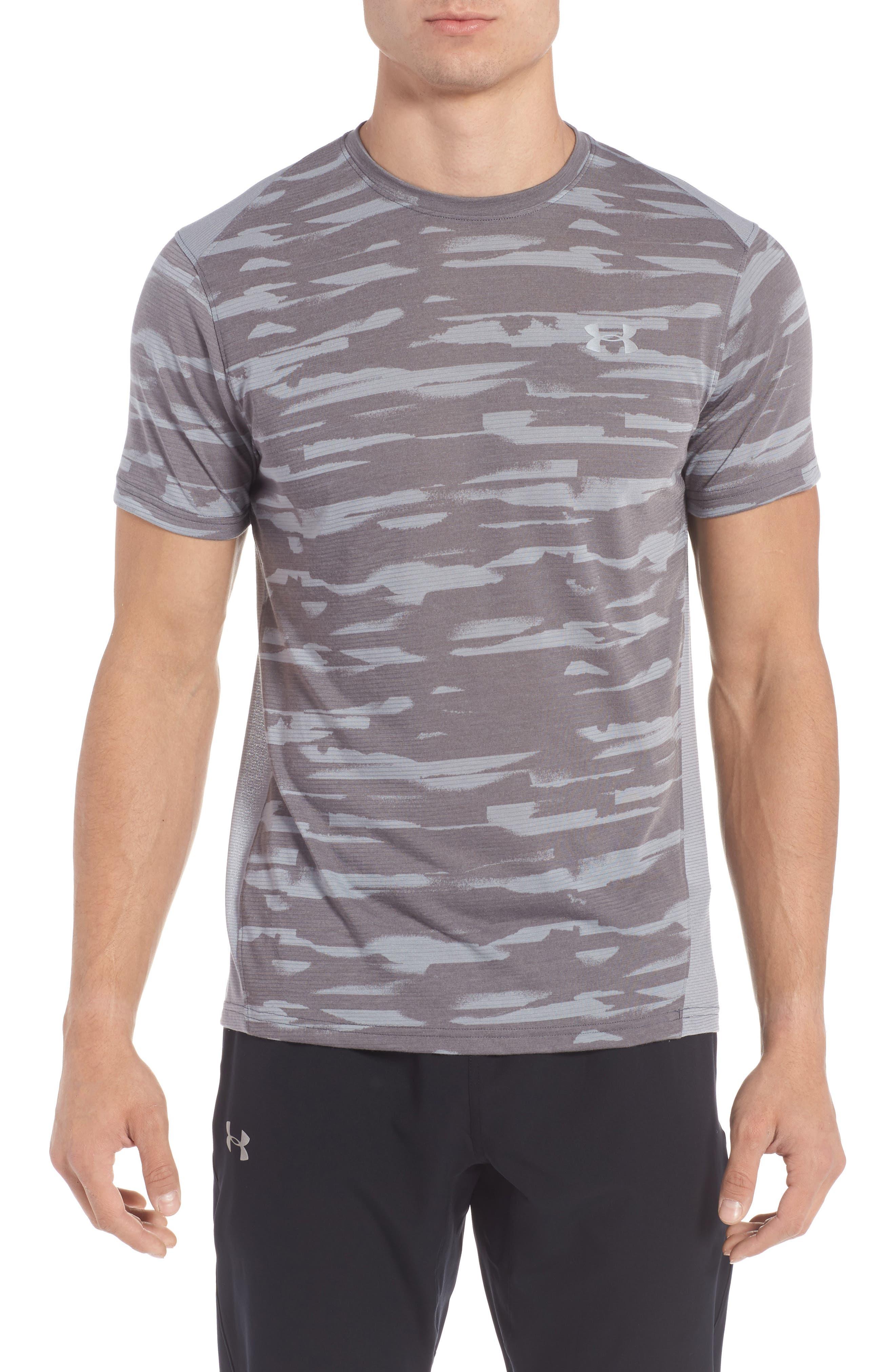 Threadborne Mesh Running T-Shirt,                             Main thumbnail 1, color,                             Grey / Black / Reflective