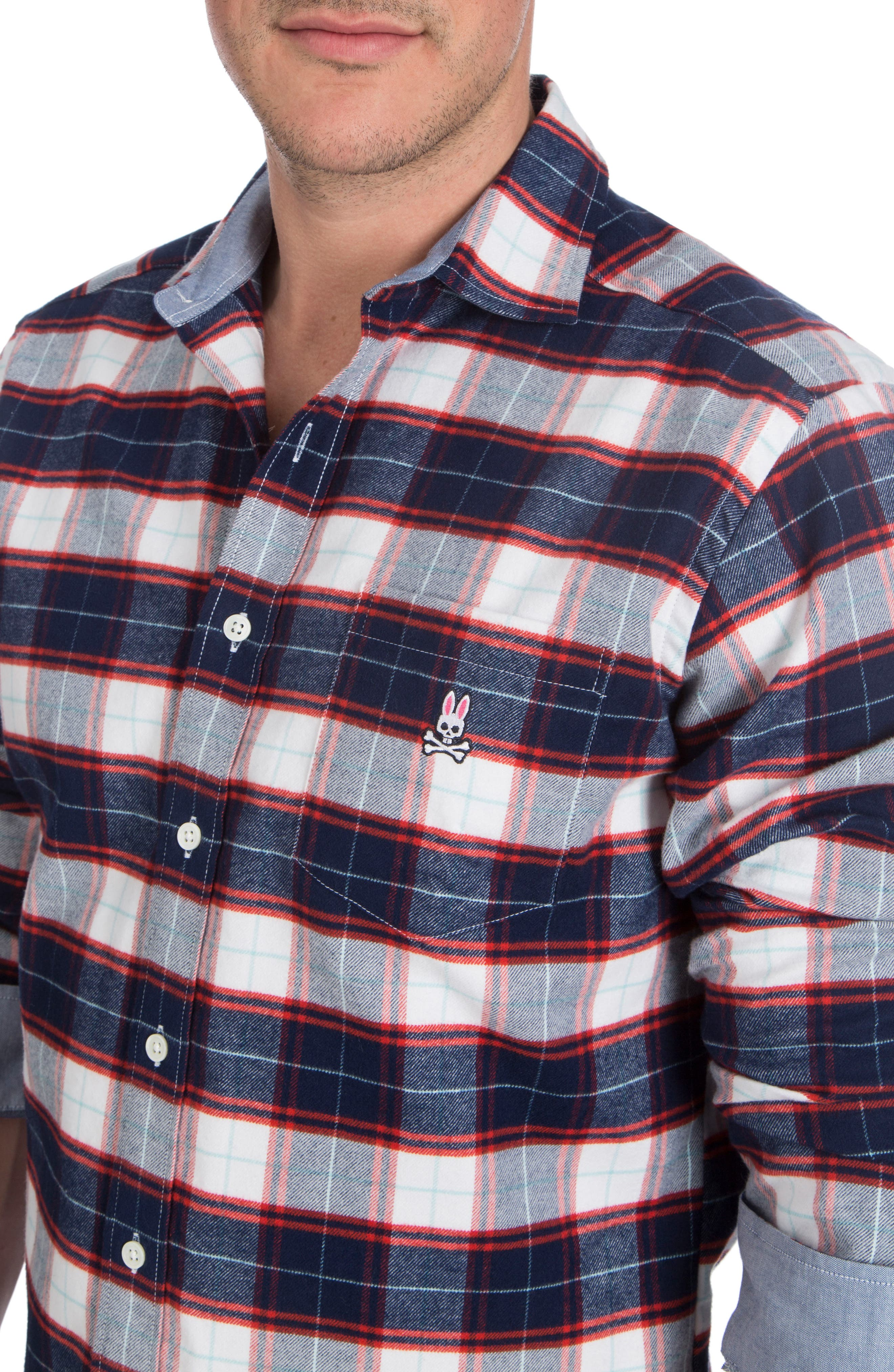 Flannel Sport Shirt,                             Alternate thumbnail 3, color,                             Navy