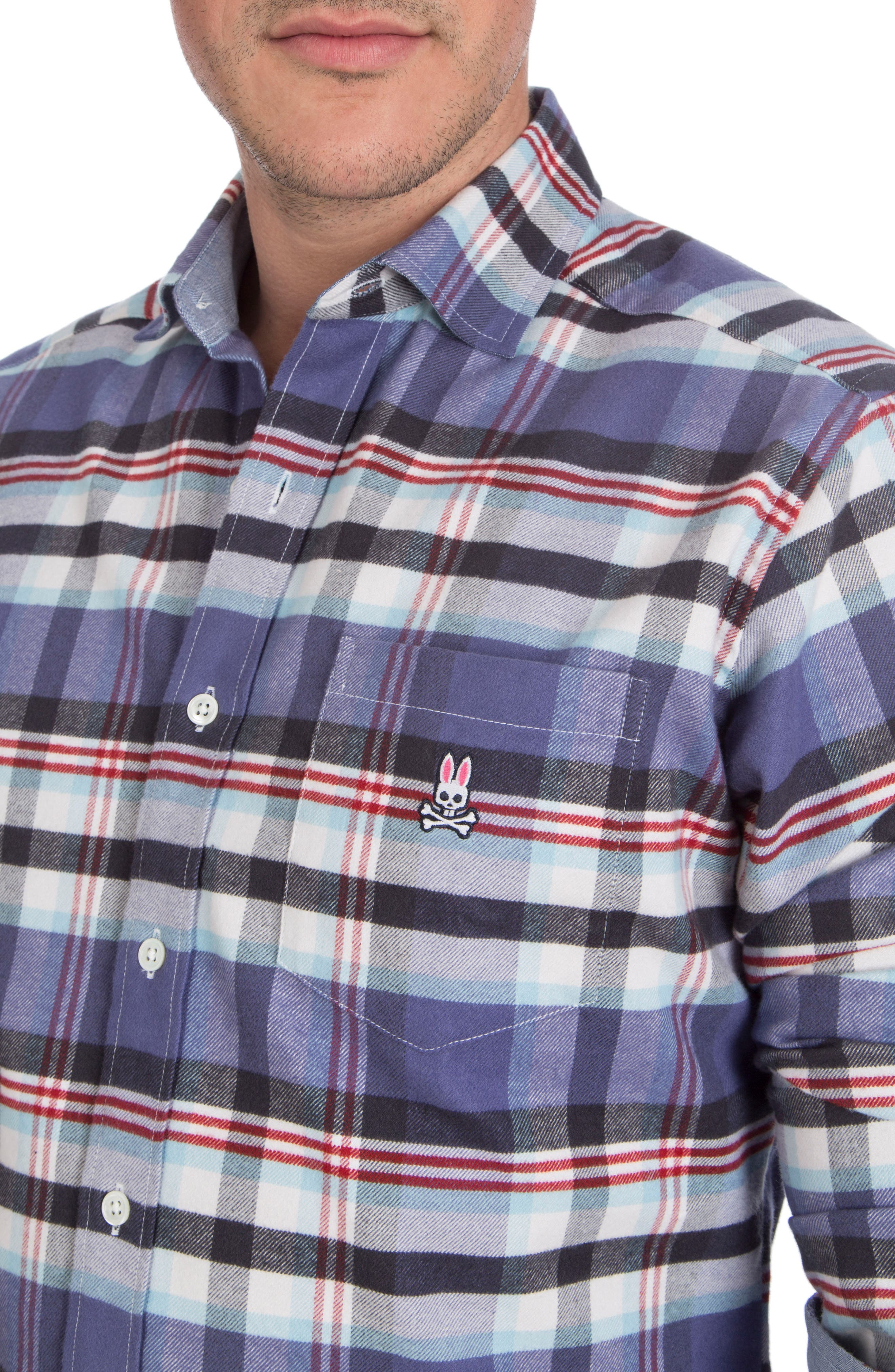 Flannel Sport Shirt,                             Alternate thumbnail 3, color,                             Fig