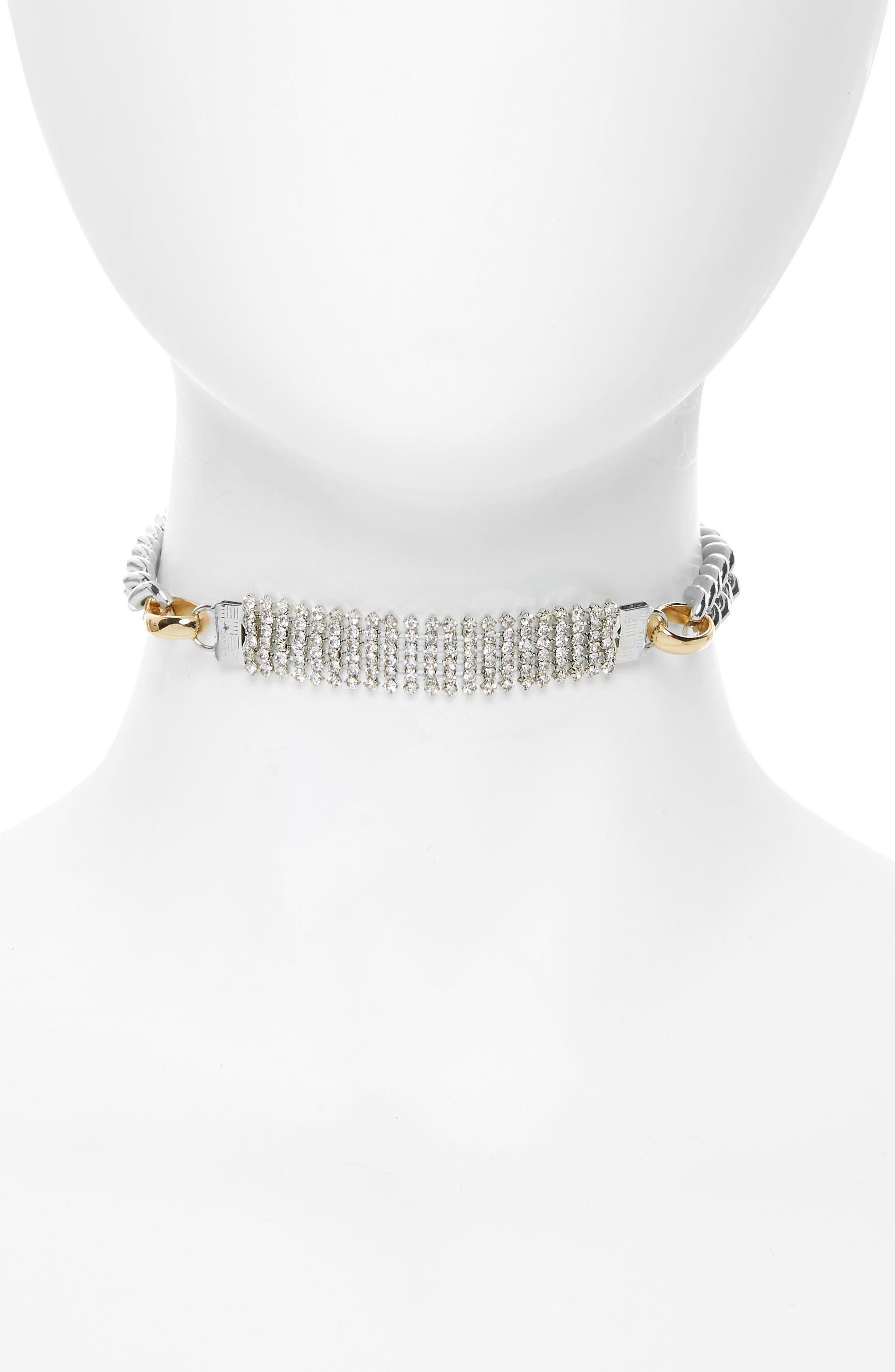 Crystal Chain Choker,                         Main,                         color, Silver/ Gold/ Crystal