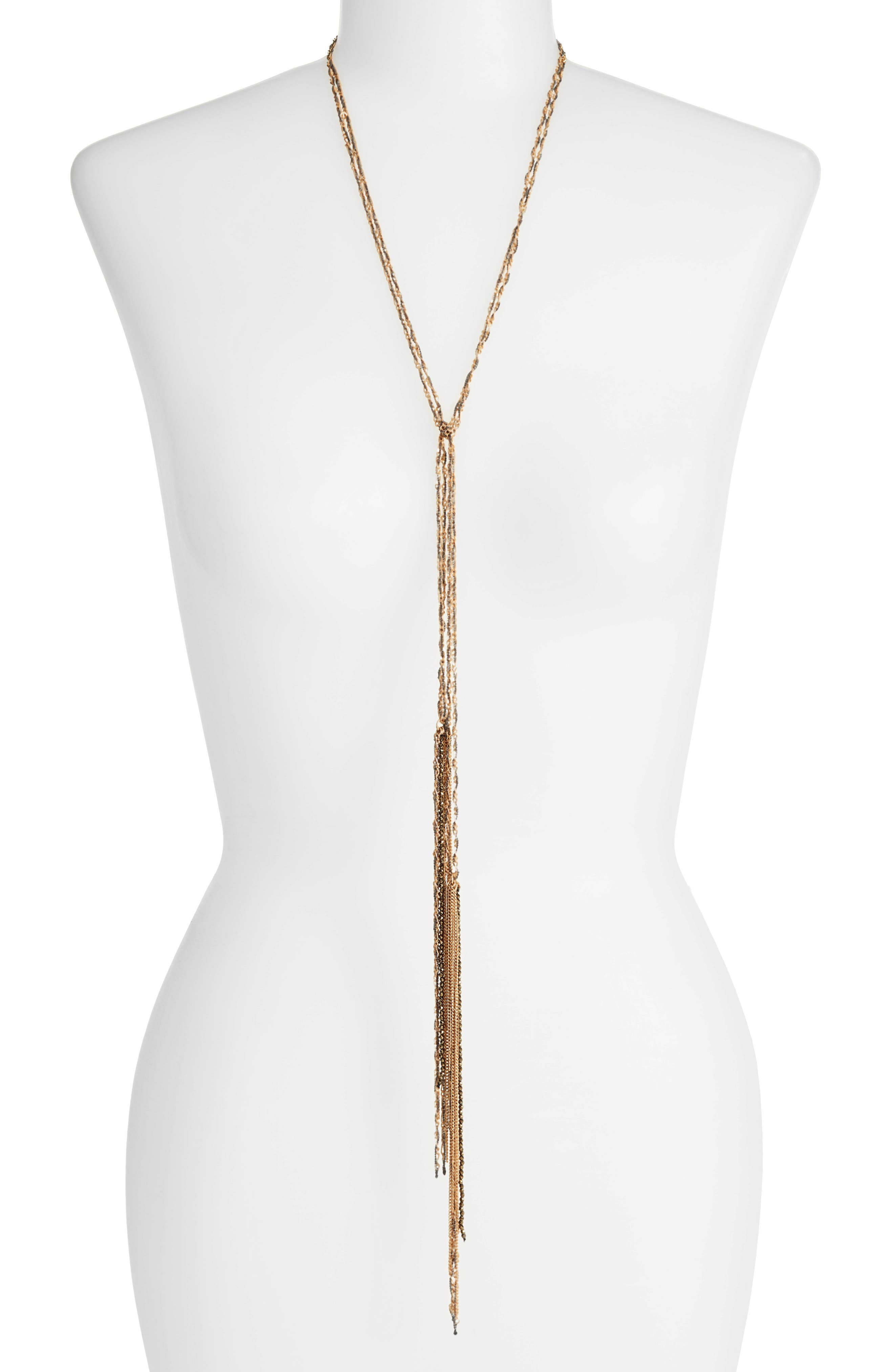 Treasure & Bond Chain & Bead Lariat Necklace