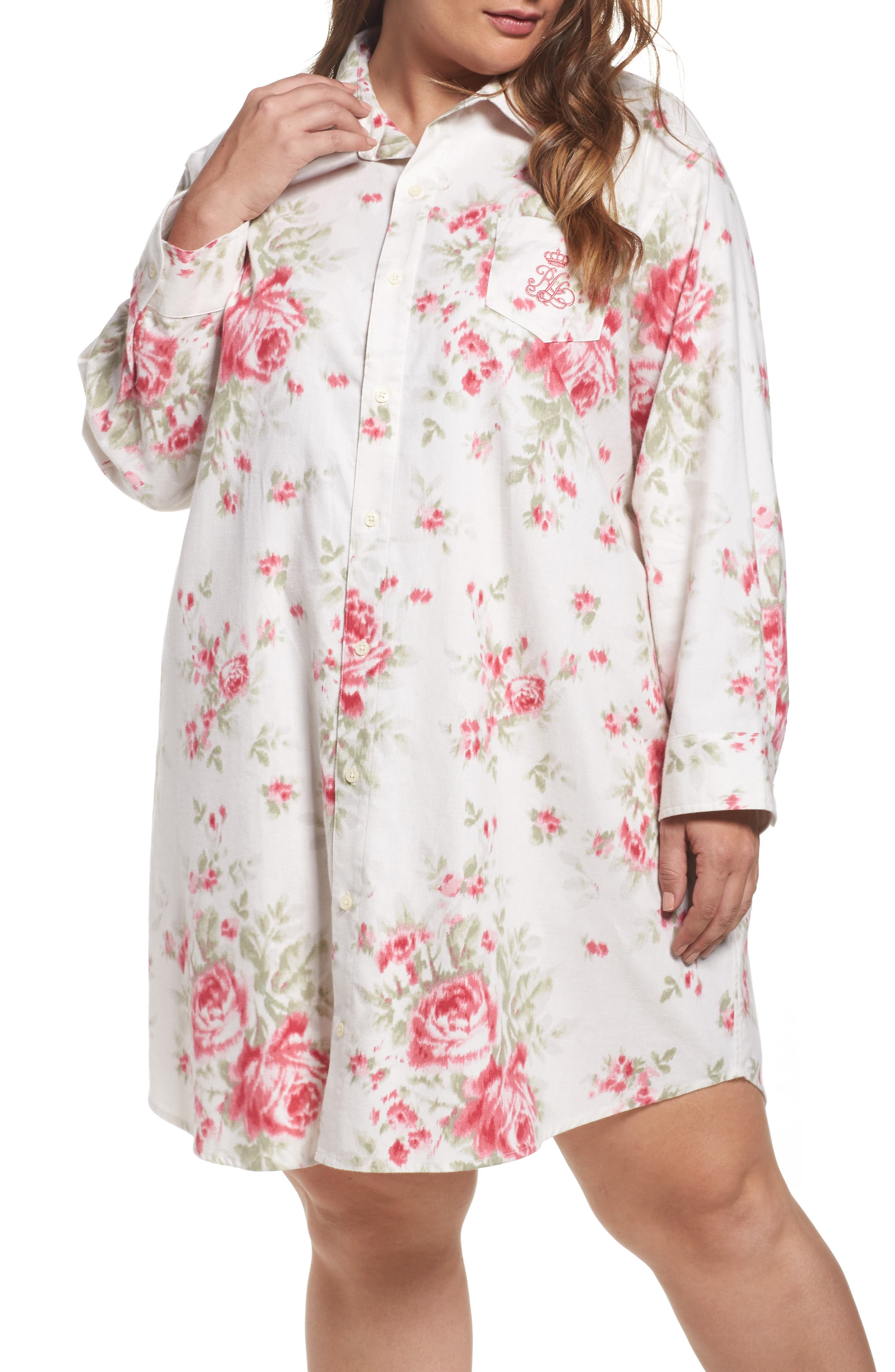 Lauren Ralph Lauren Flannel Sleep Shirt (Plus Size)