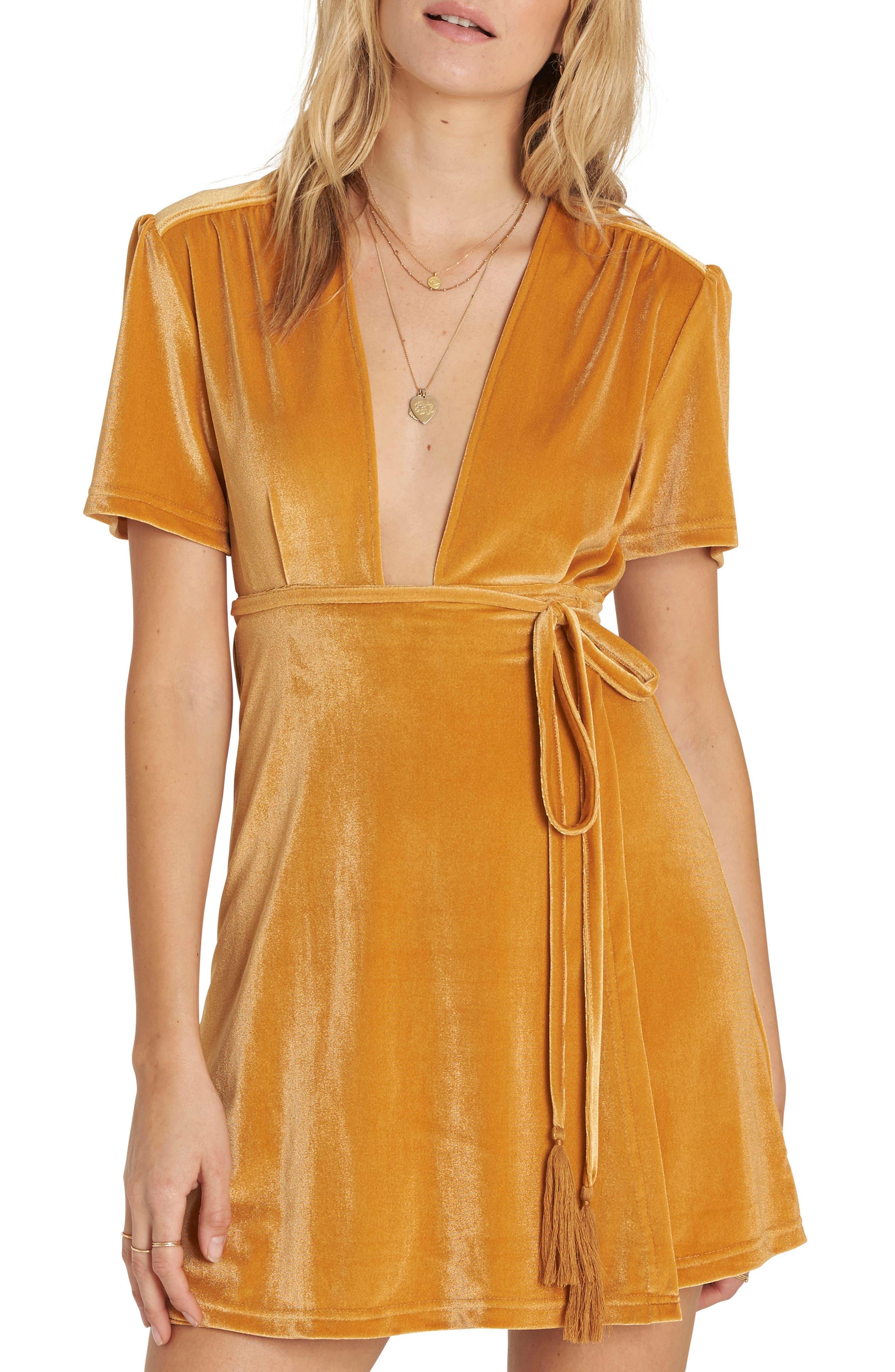 Velvet Dress,                         Main,                         color, Honey Gold