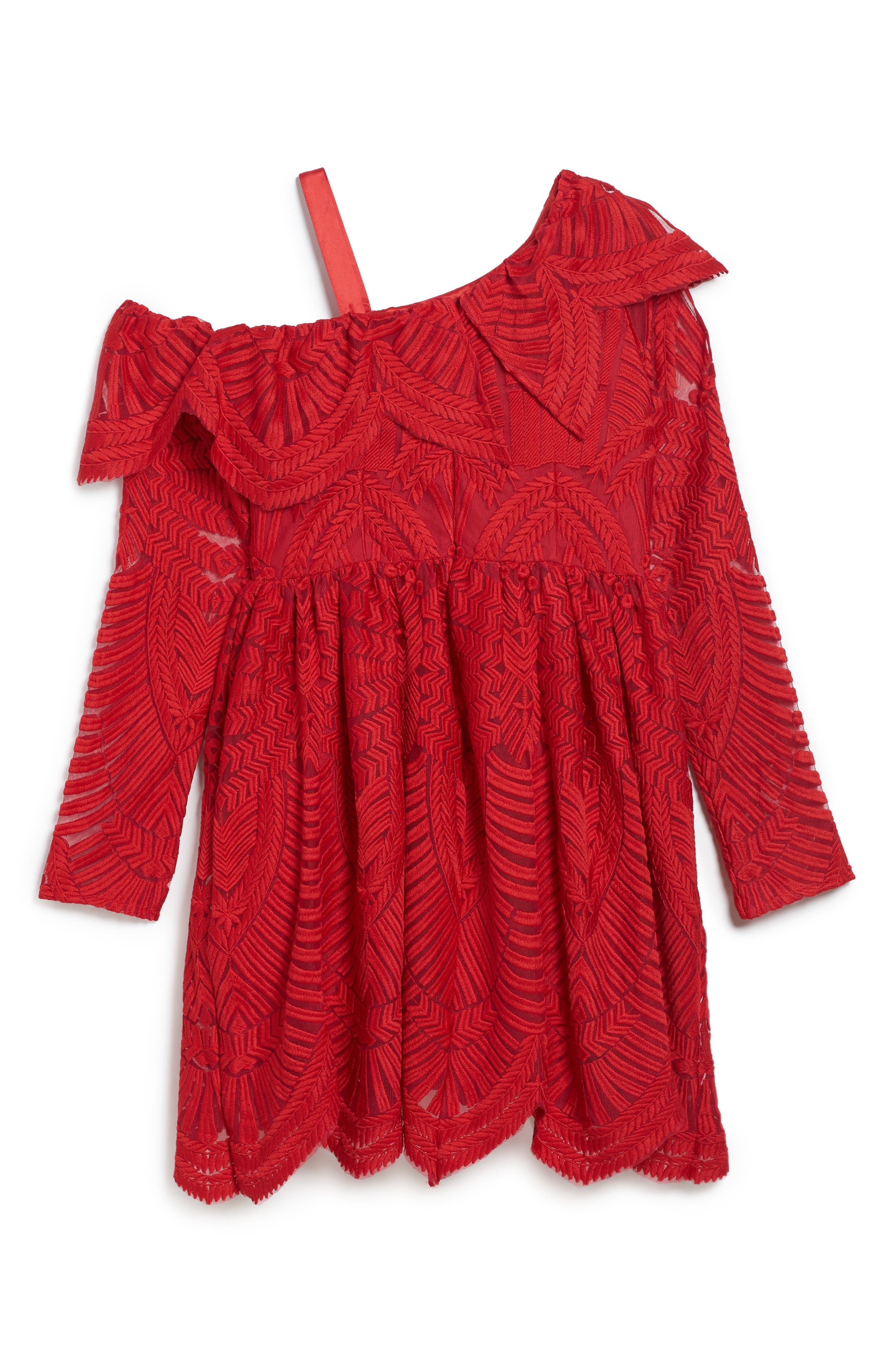 Sybil Lace Dress,                             Alternate thumbnail 2, color,                             Red