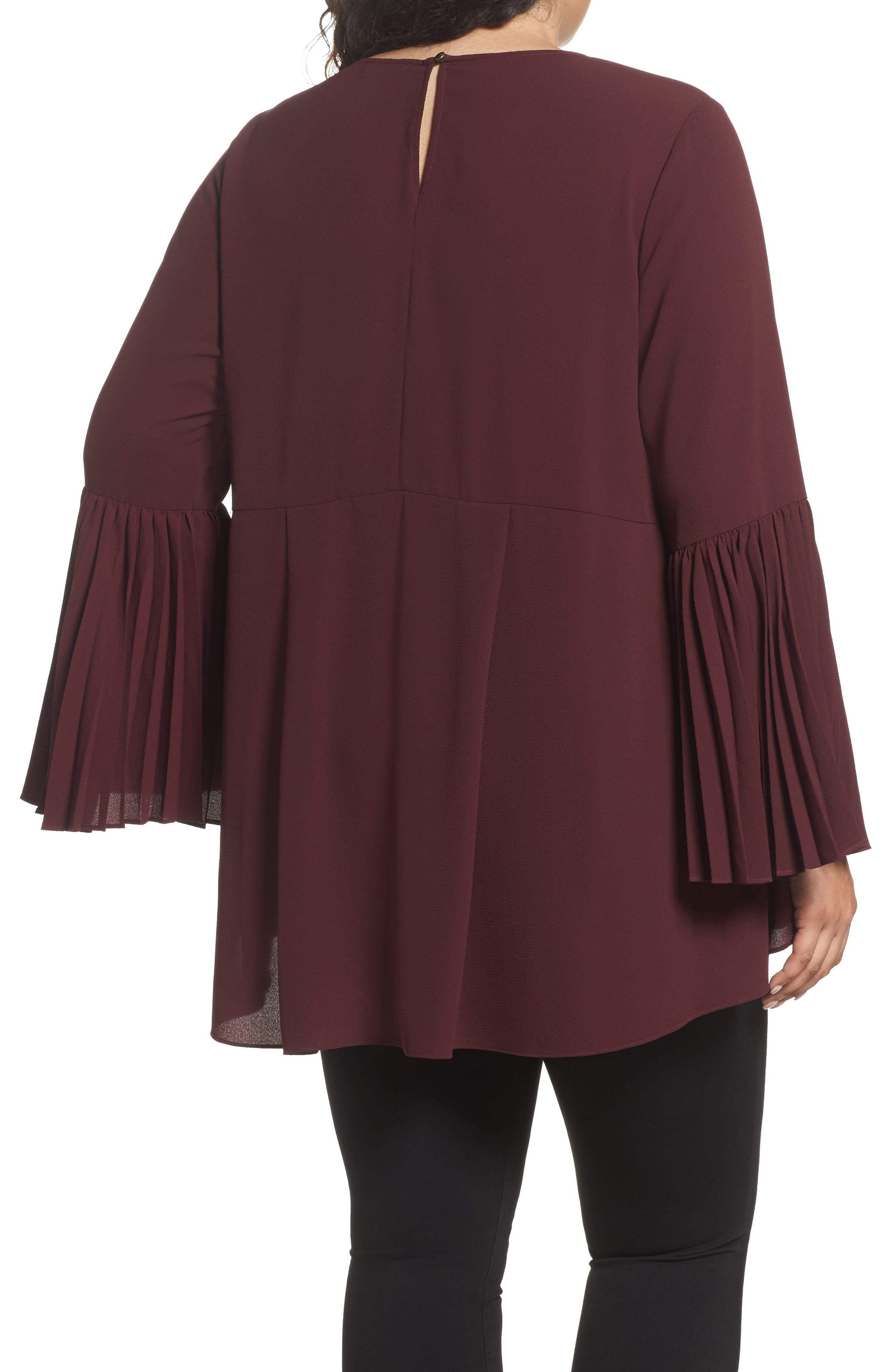 Pleated Bell Sleeve High/Low Shirt,                             Alternate thumbnail 2, color,                             Deep Claret