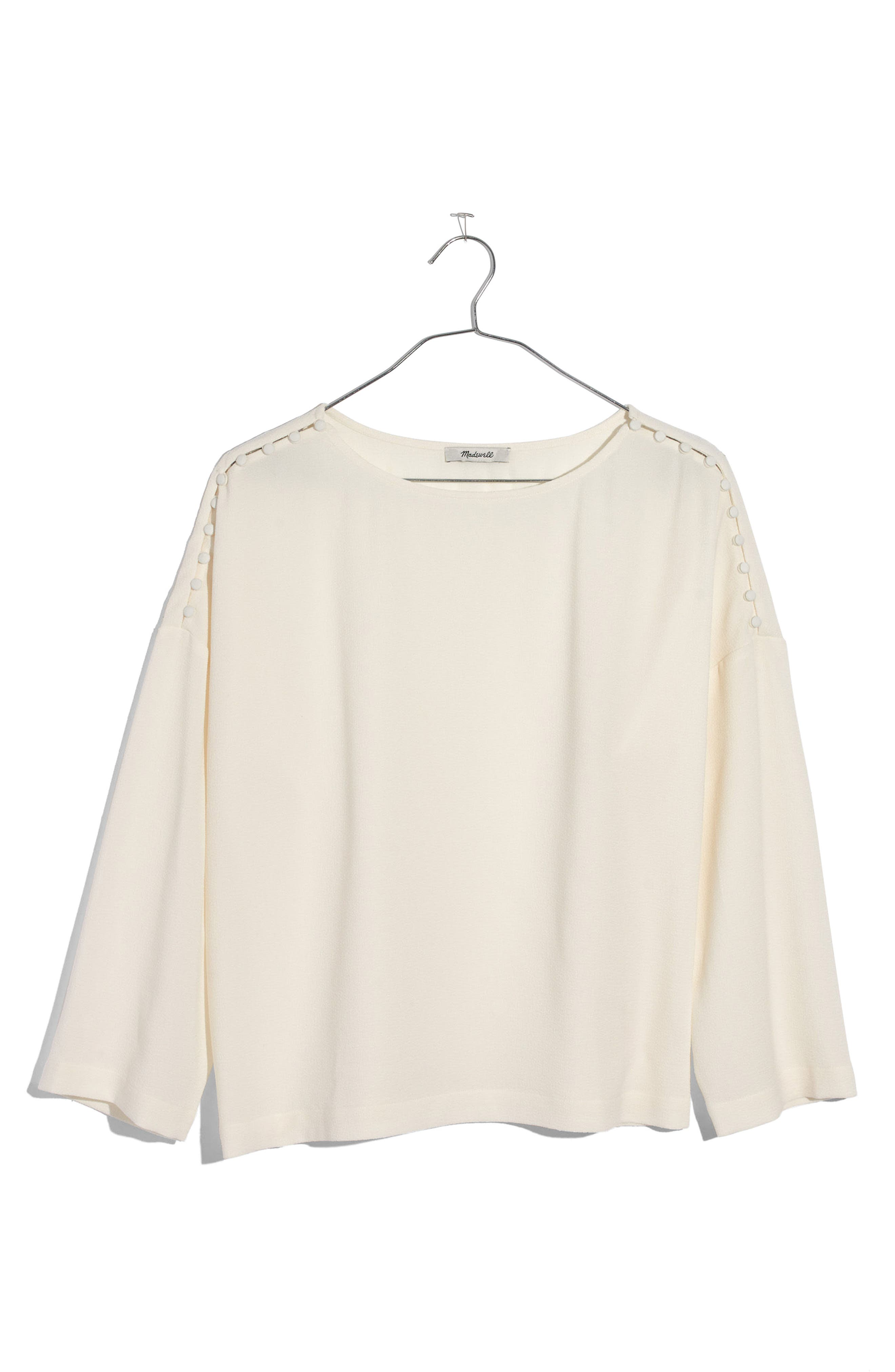 Button Shoulder Crepe Top,                         Main,                         color, Bright Ivory