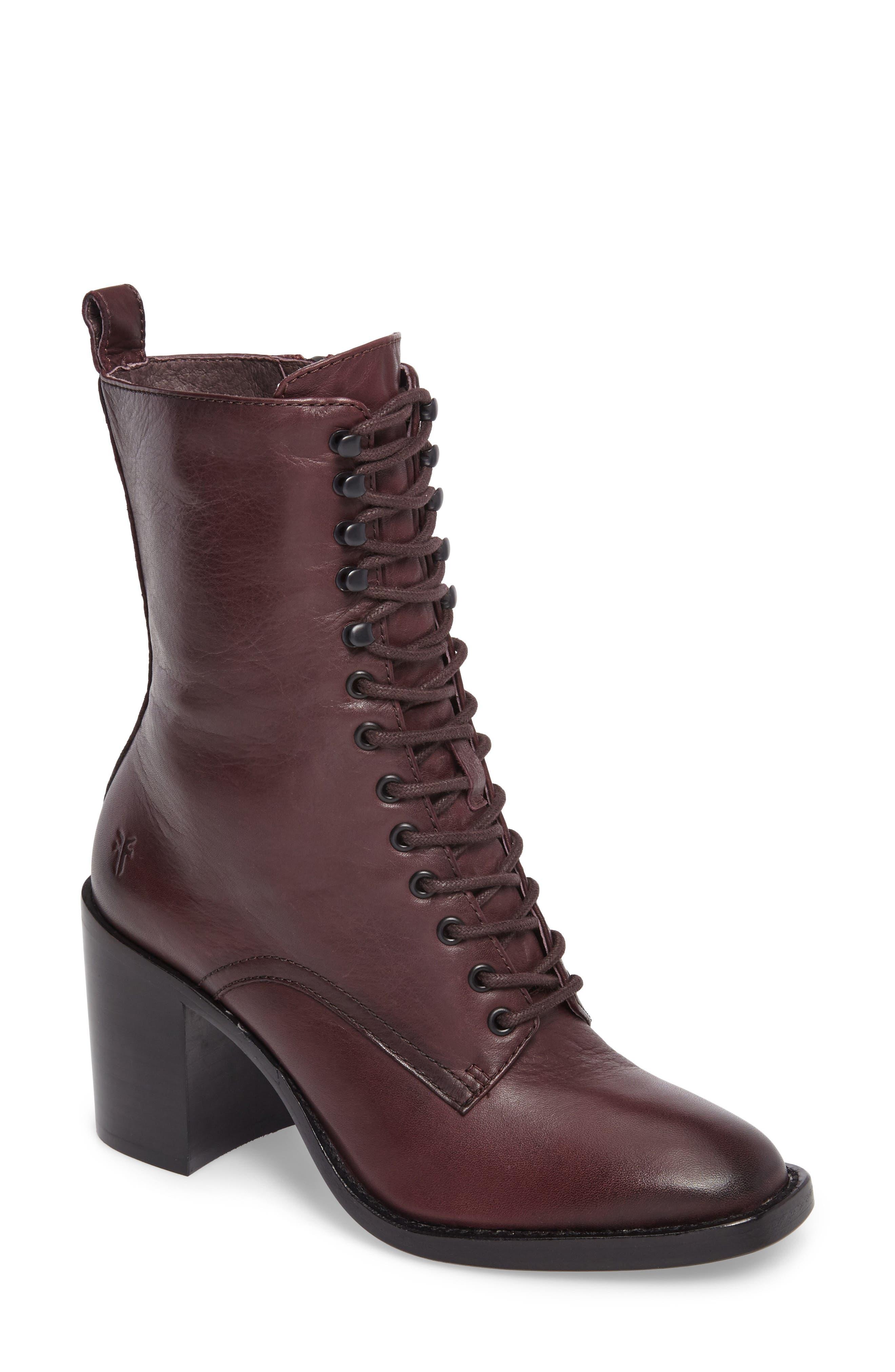 Pia Combat Boot,                         Main,                         color, Wine