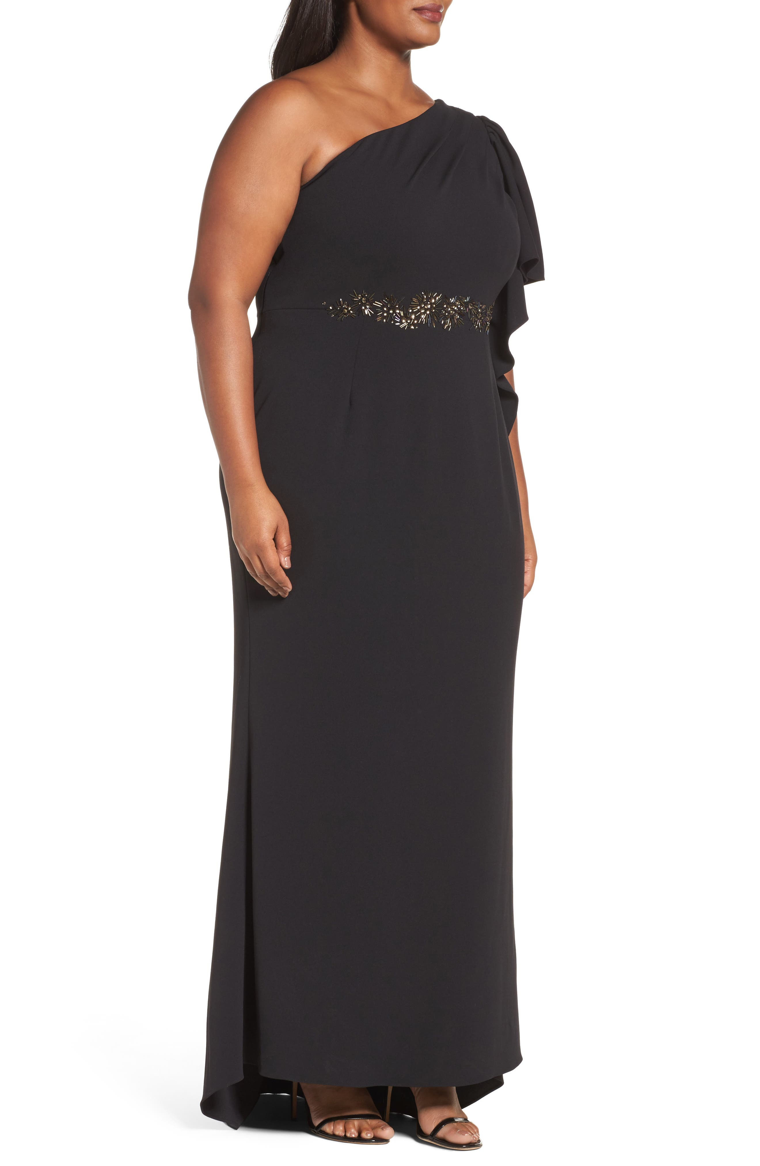 Alternate Image 3  - Adrianna Papell Crepe One-Shoulder Gown (Plus Size)