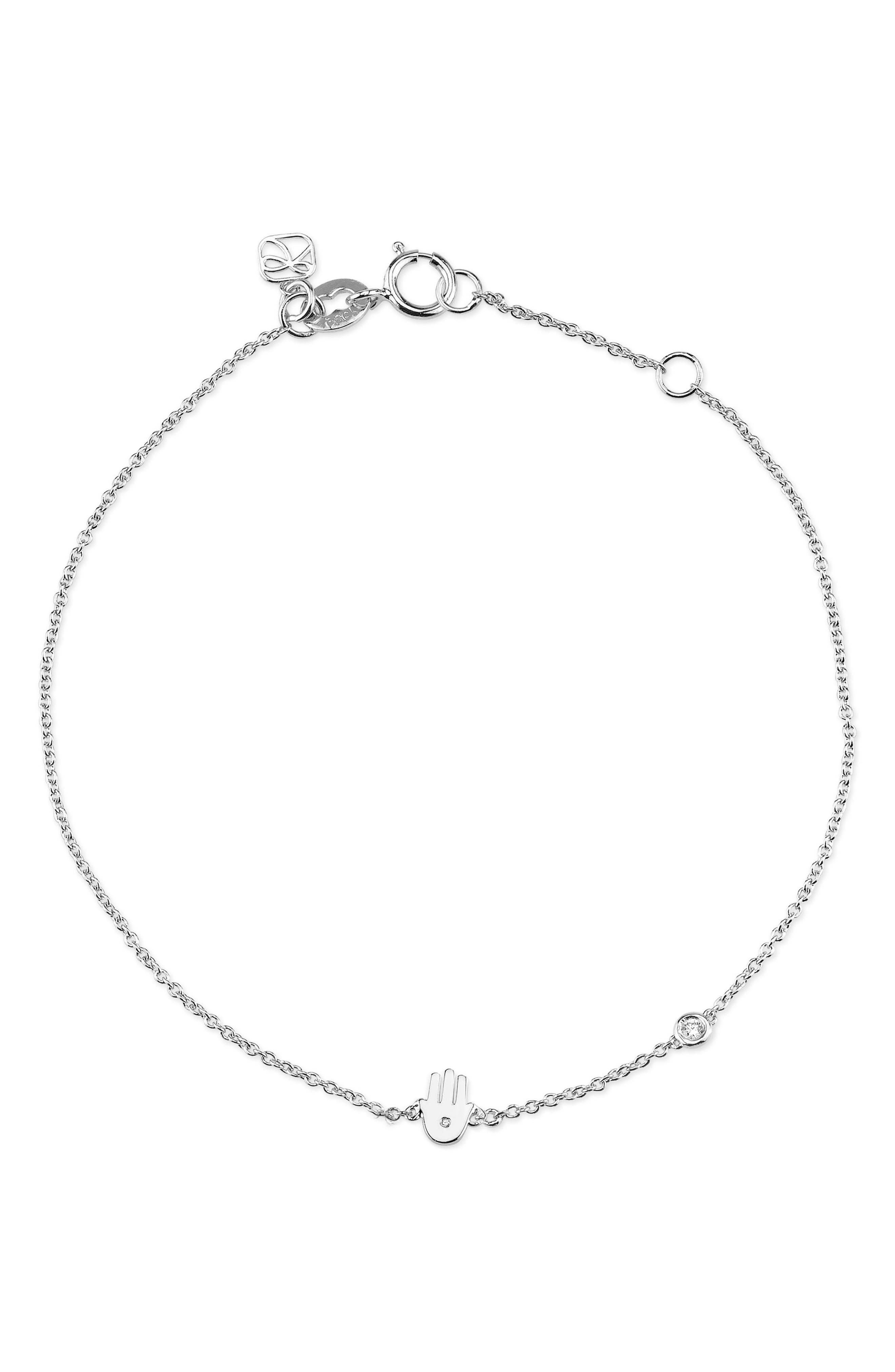 Hamsa Diamond Bracelet,                         Main,                         color, Silver