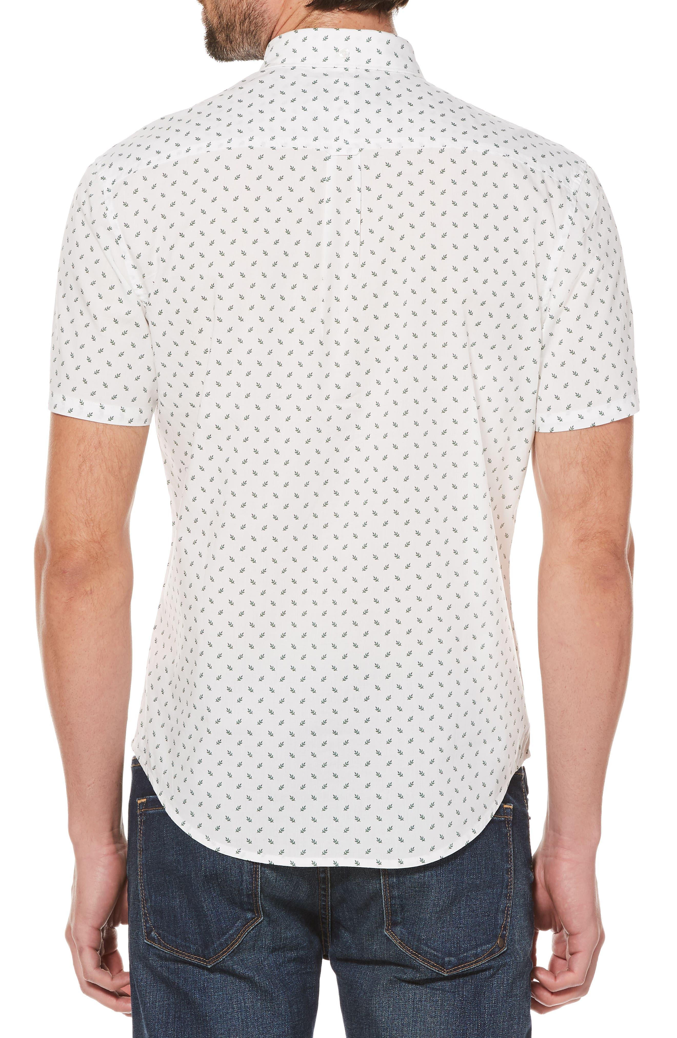 Leaf Print Woven Shirt,                             Alternate thumbnail 2, color,                             Bright White