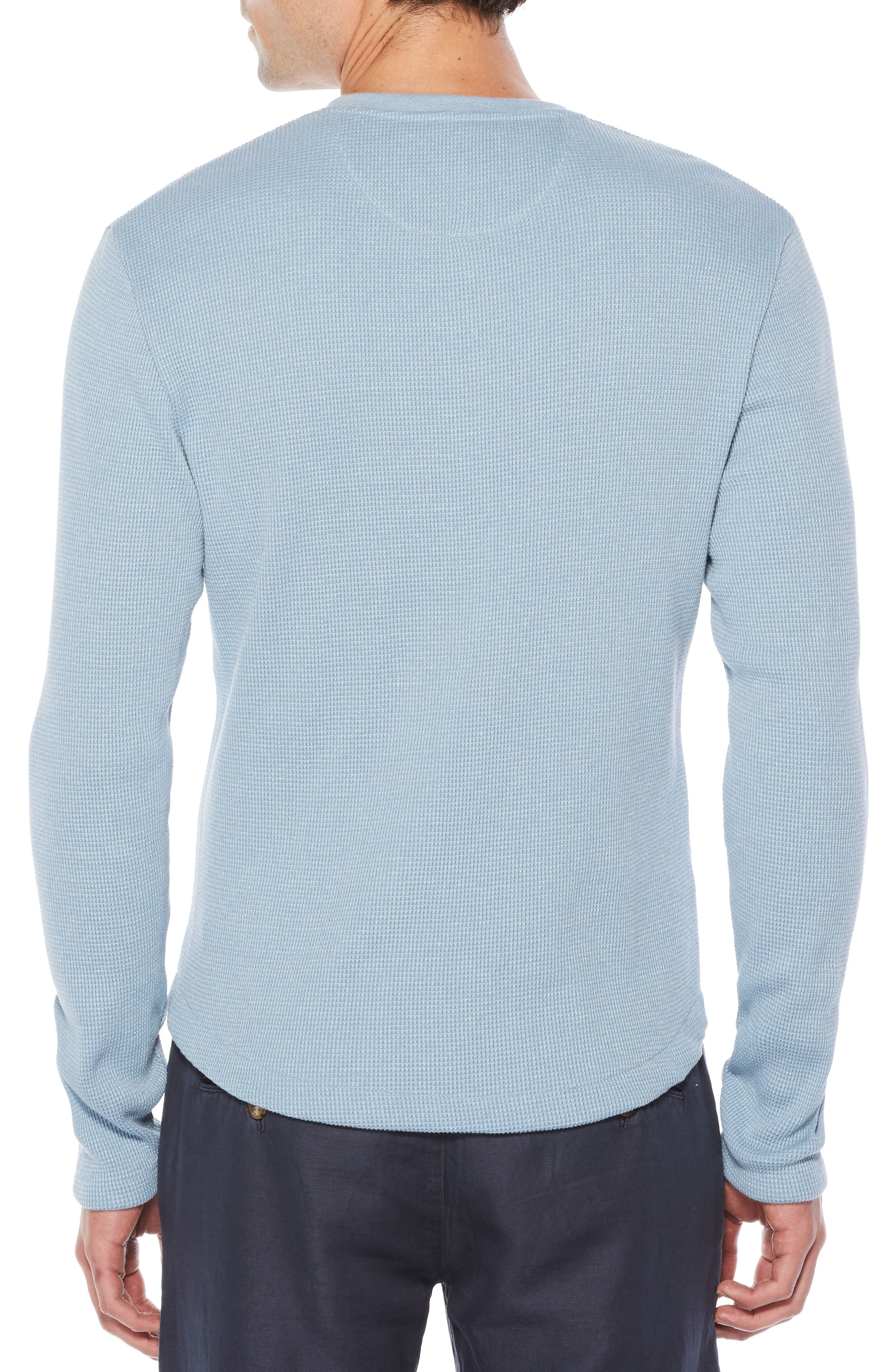 Waffle Knit Henley,                             Alternate thumbnail 2, color,                             Faded Denim