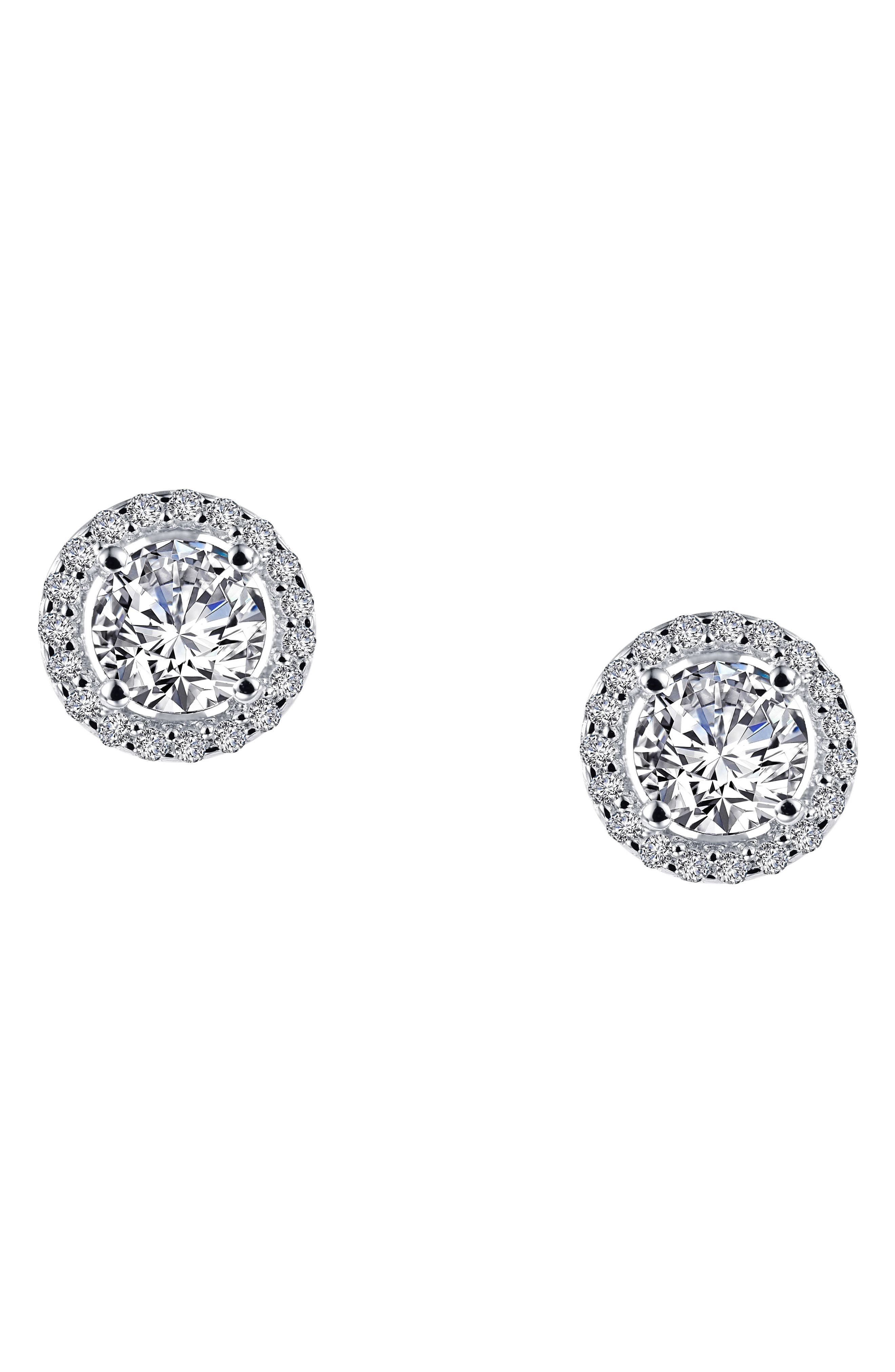 Simulated Diamond Stud Earrings,                             Alternate thumbnail 3, color,                             Silver/ Clear