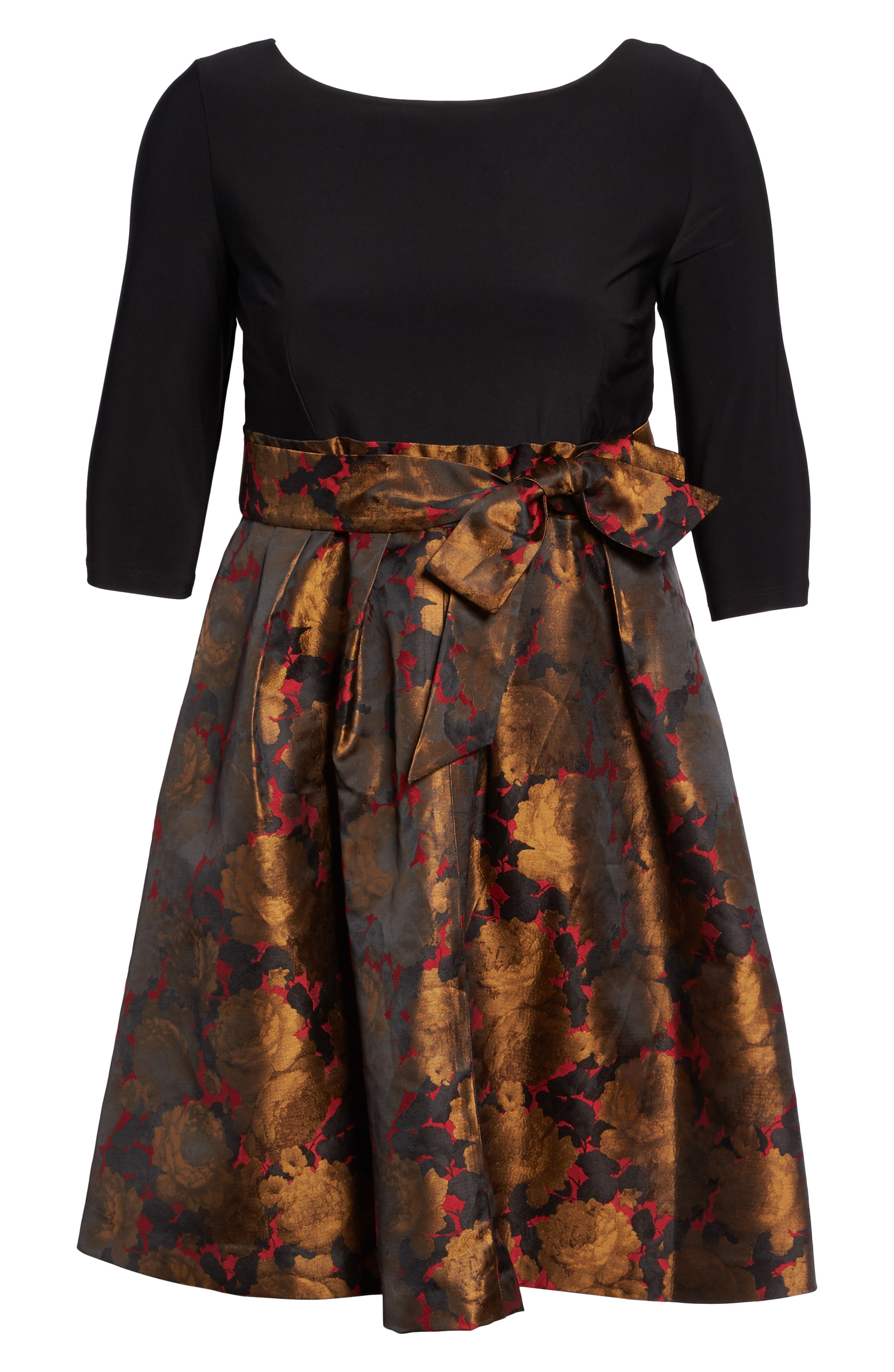 Mixed Media Fit & Flare Dress,                             Alternate thumbnail 6, color,                             Red/ Gold