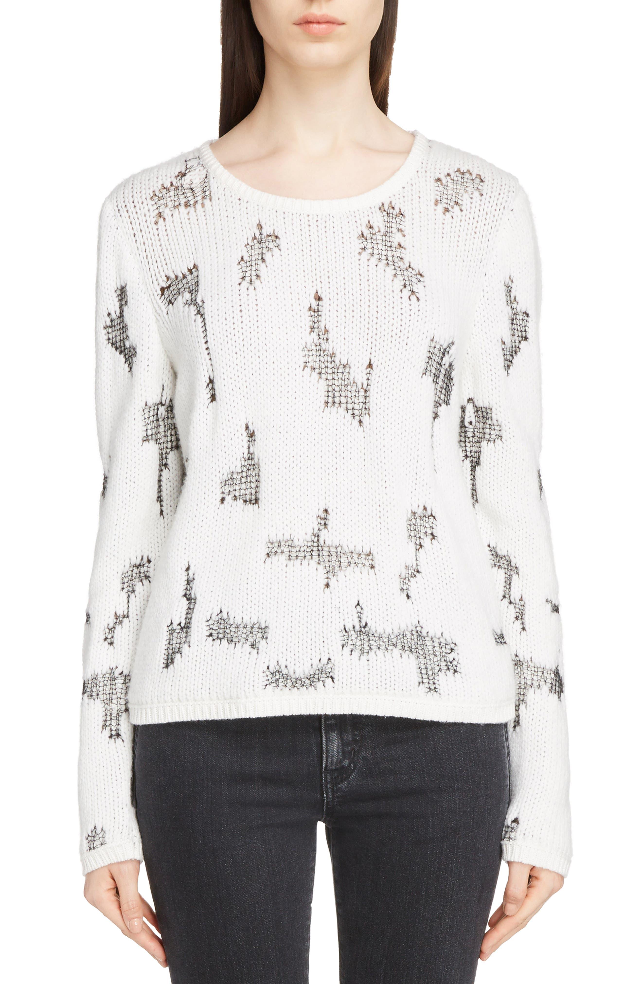 Distressed Cashmere Blend Sweater,                             Main thumbnail 1, color,                             Naturel/ Noir
