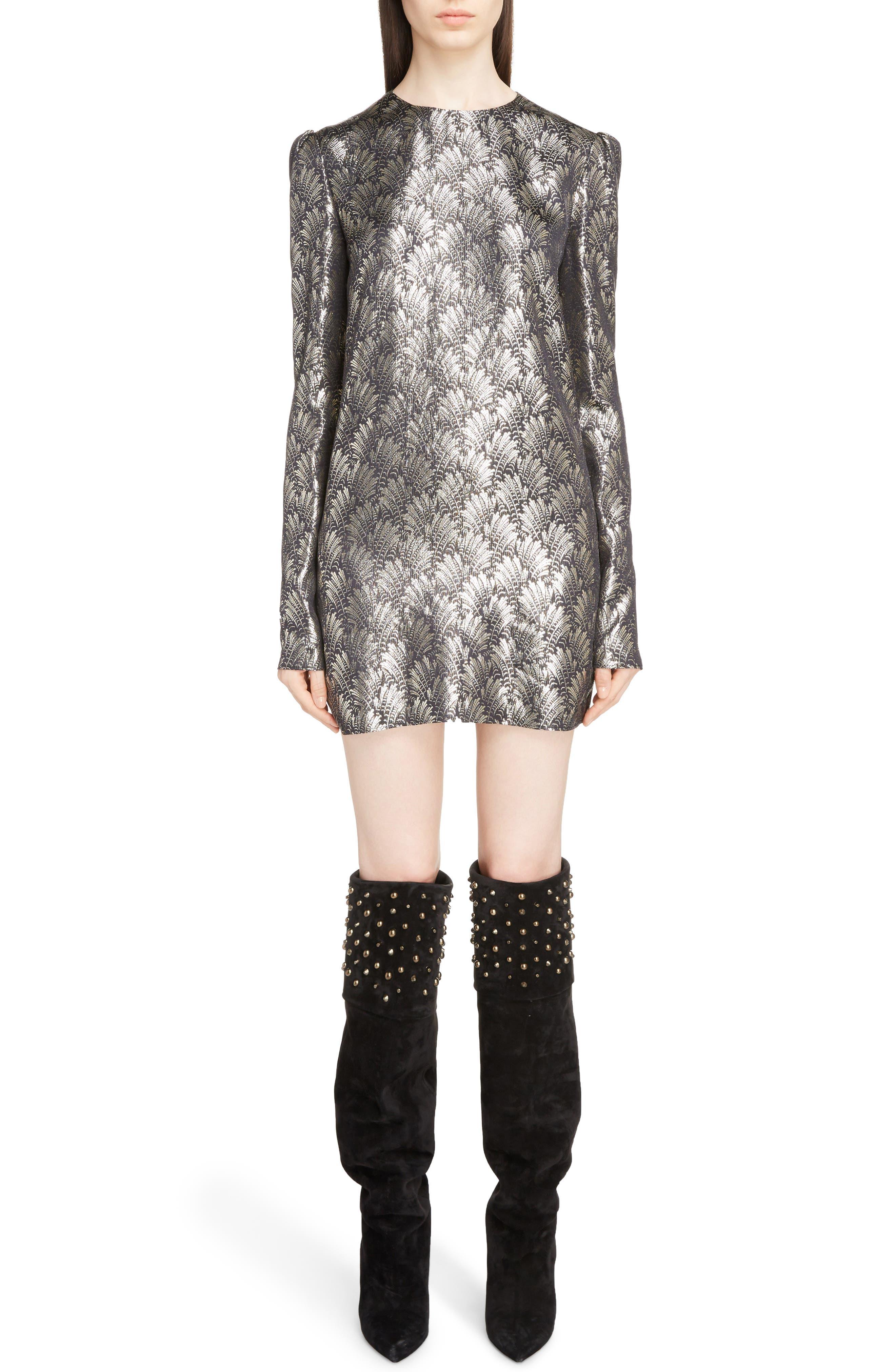 Saint Laurent Metallic Jacquard Shift Dress