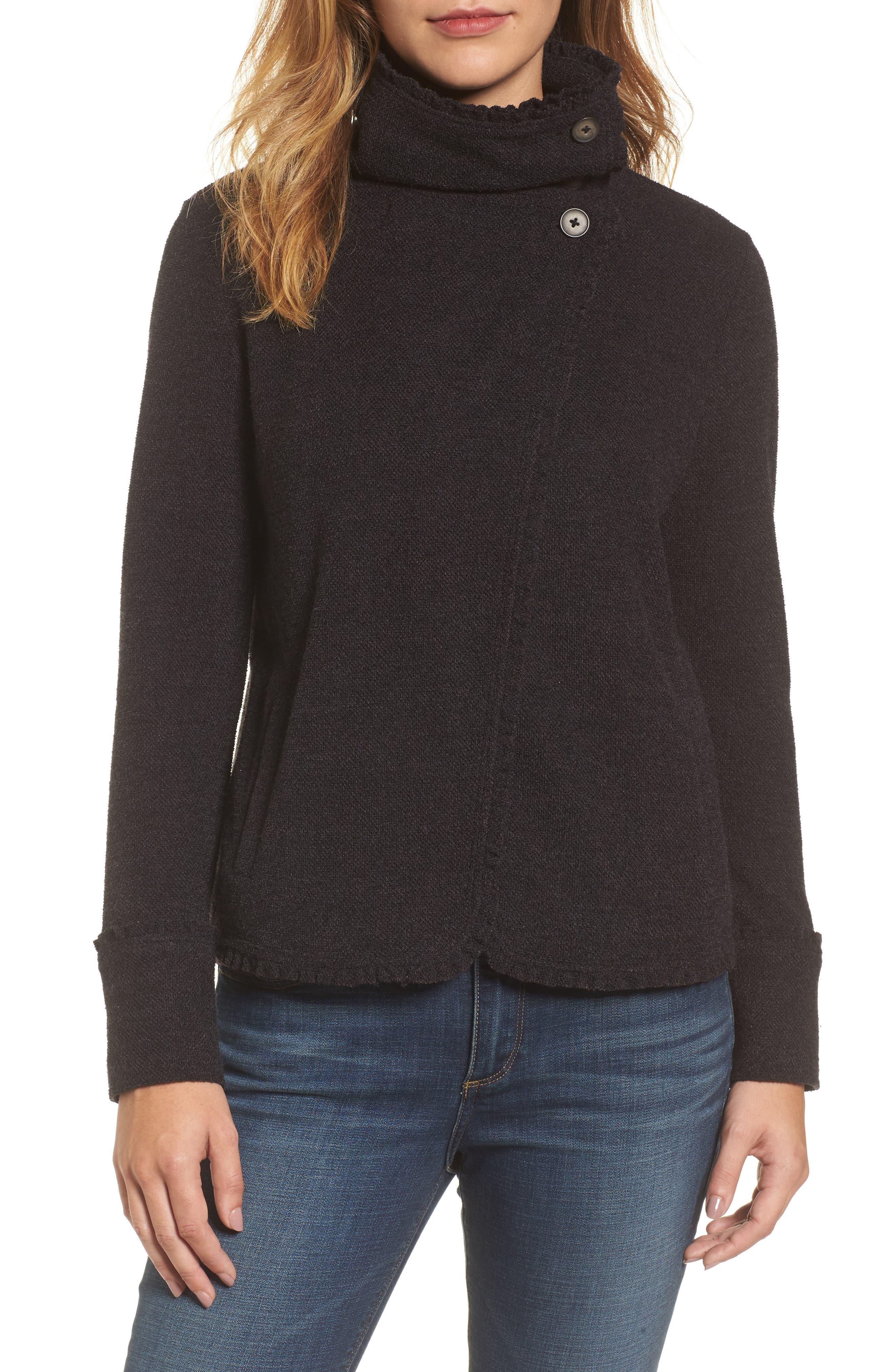 Caslon® Ruffle Trim Knit Jacket (Regular & Petite)