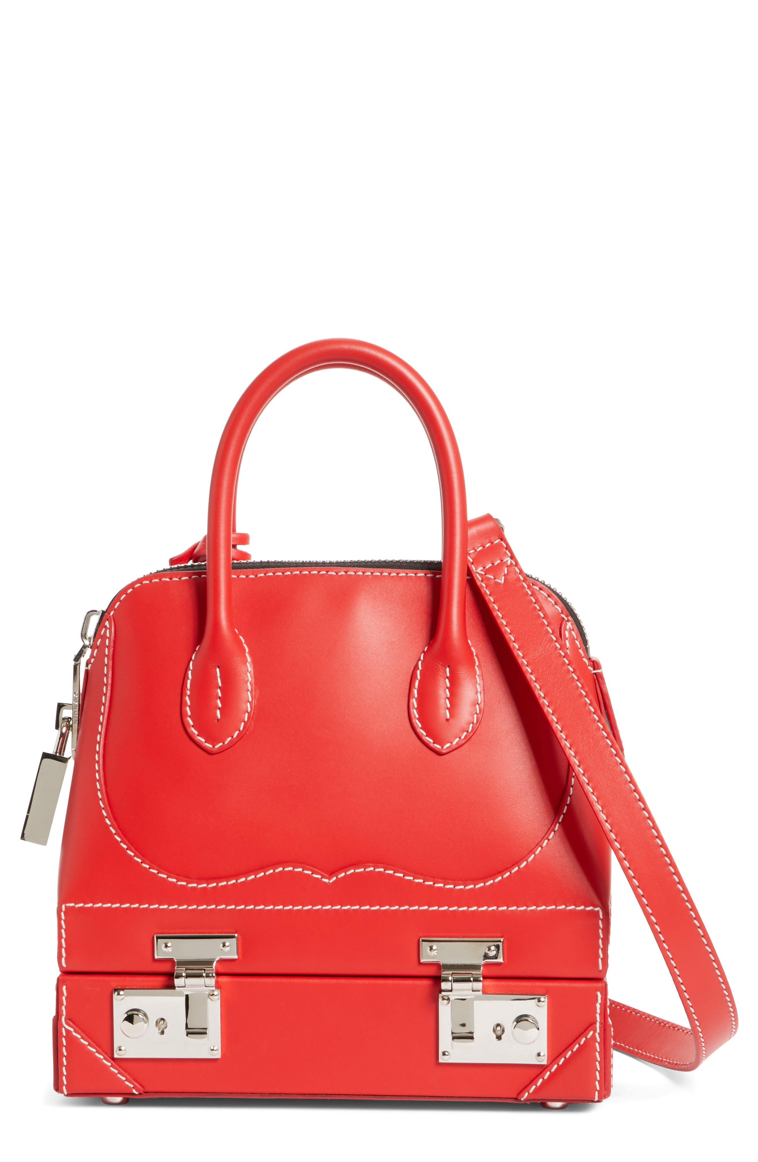 Mini Calfskin Satchel,                         Main,                         color, Red
