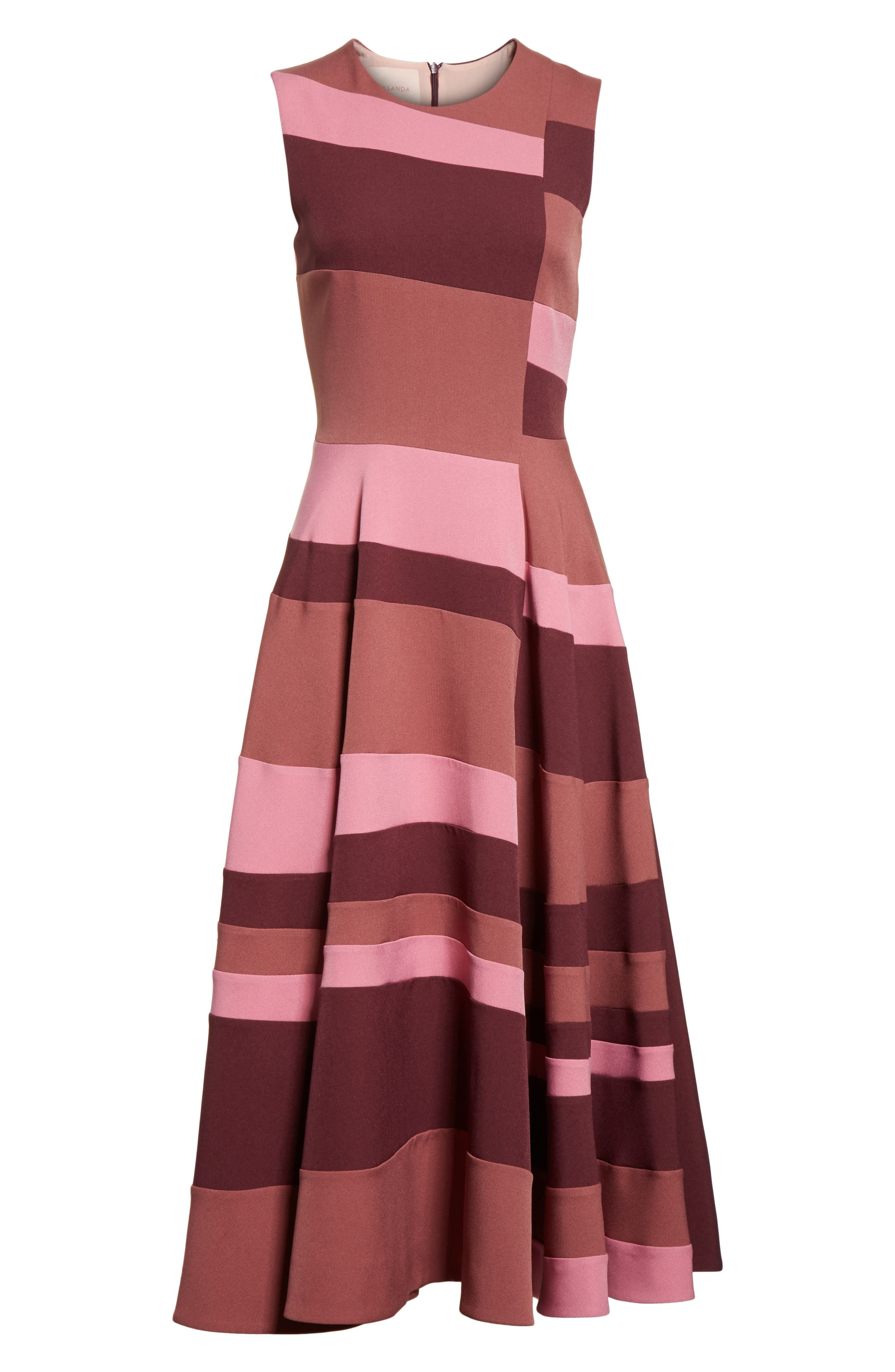 Tatum Stripe Paneled Fit & Flare Dress,                             Alternate thumbnail 7, color,                             Plum/ Blossom/ Mink