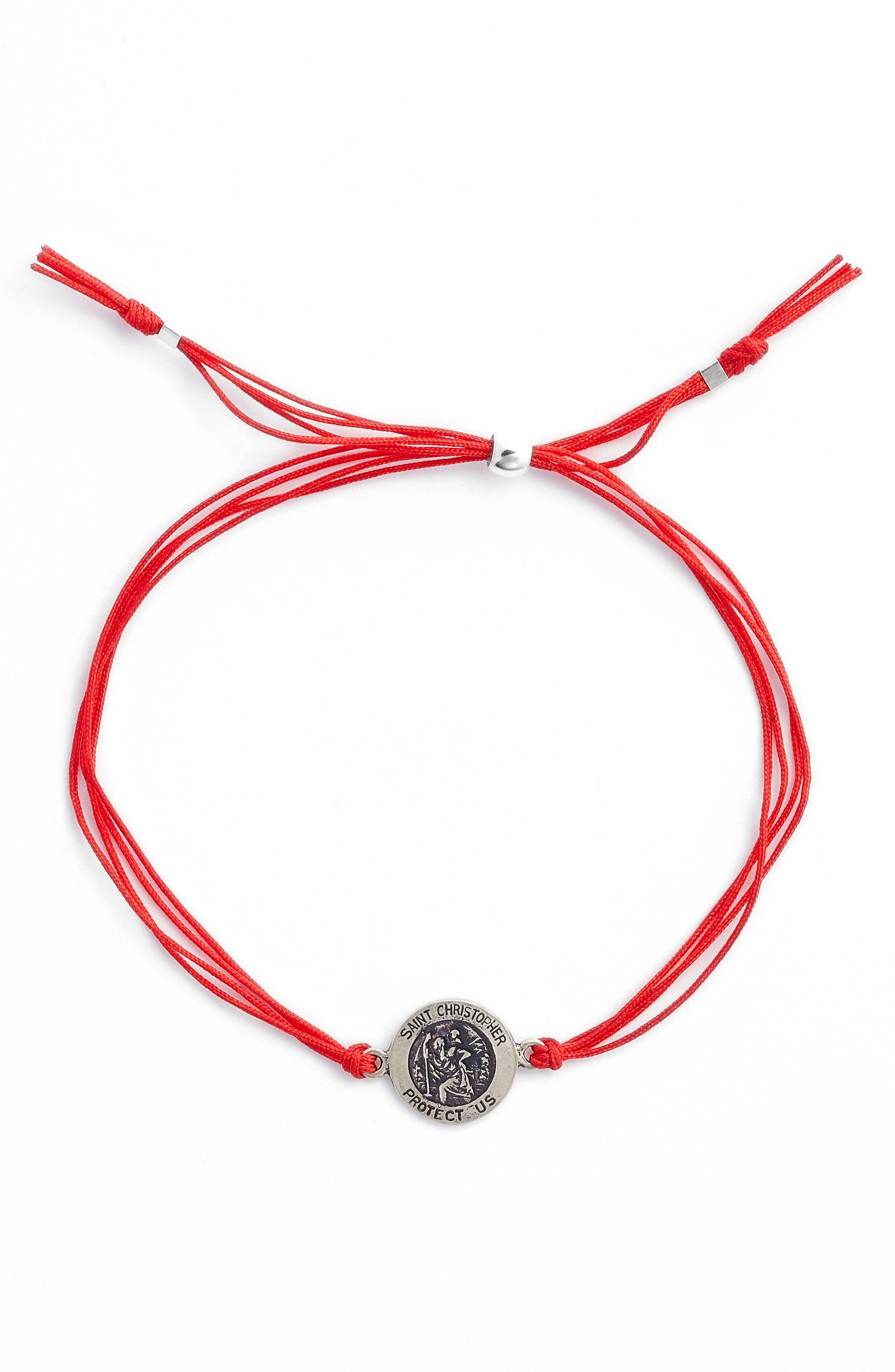 Saint Christopher Pull Bracelet,                             Alternate thumbnail 2, color,                             Red/ Silver