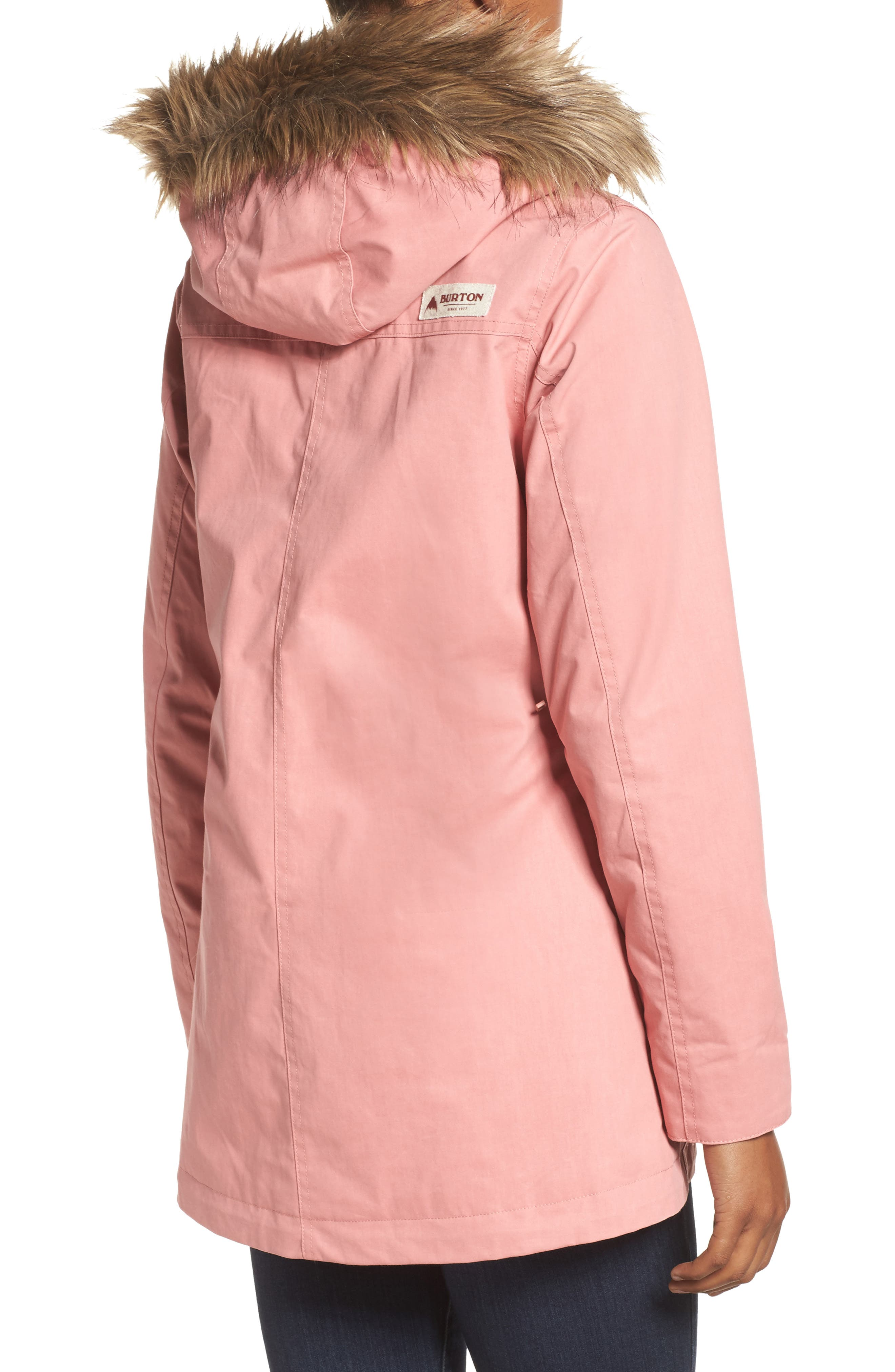 Hazel Waterproof Hooded Jacket with Removable Faux Fur Trim,                             Alternate thumbnail 2, color,                             Dusty Rose Wax
