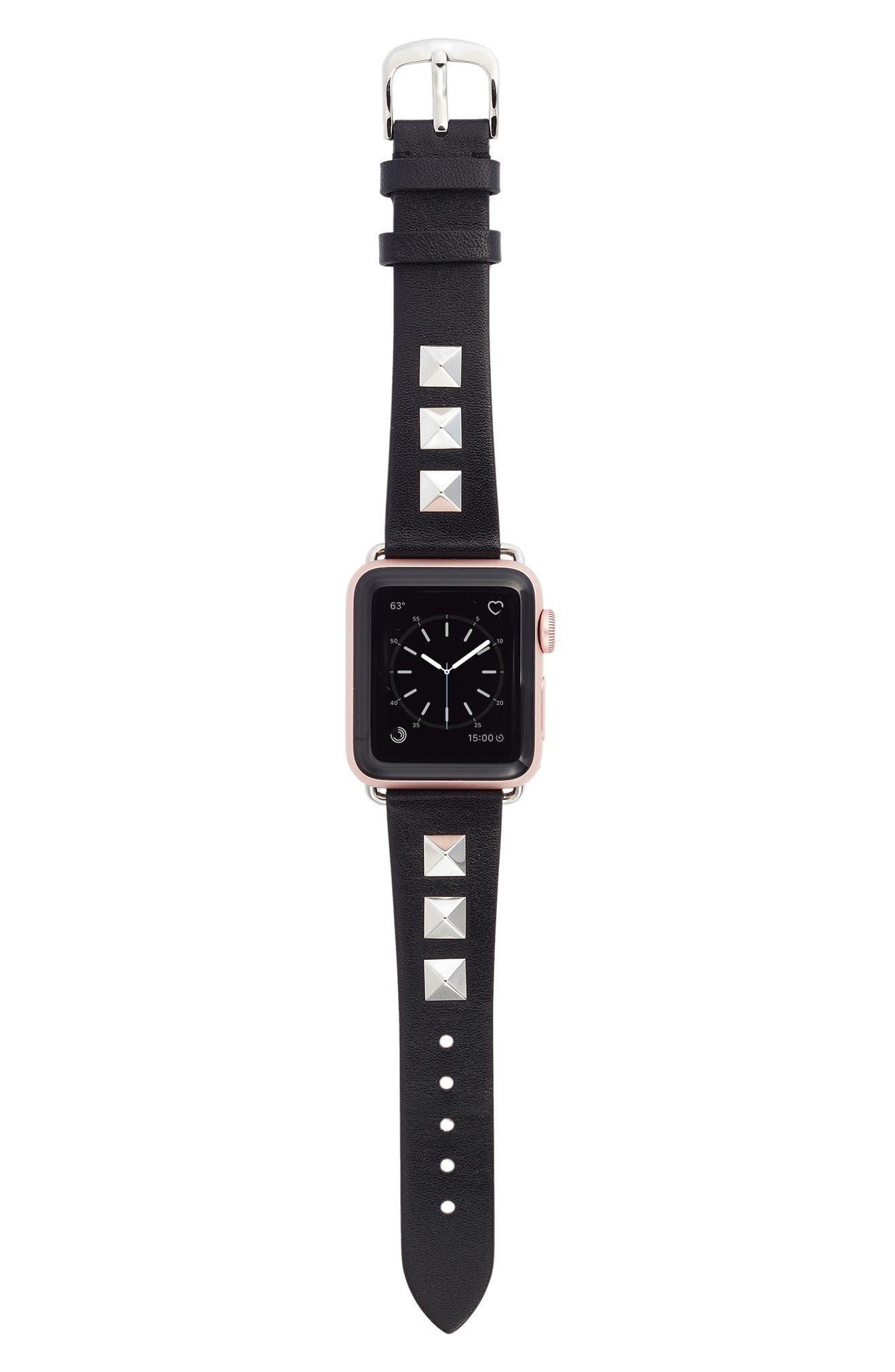 Bezels & Bytes Studded Leather Apple Watch Strap, 38mm,                             Main thumbnail 1, color,                             Silver/ Black