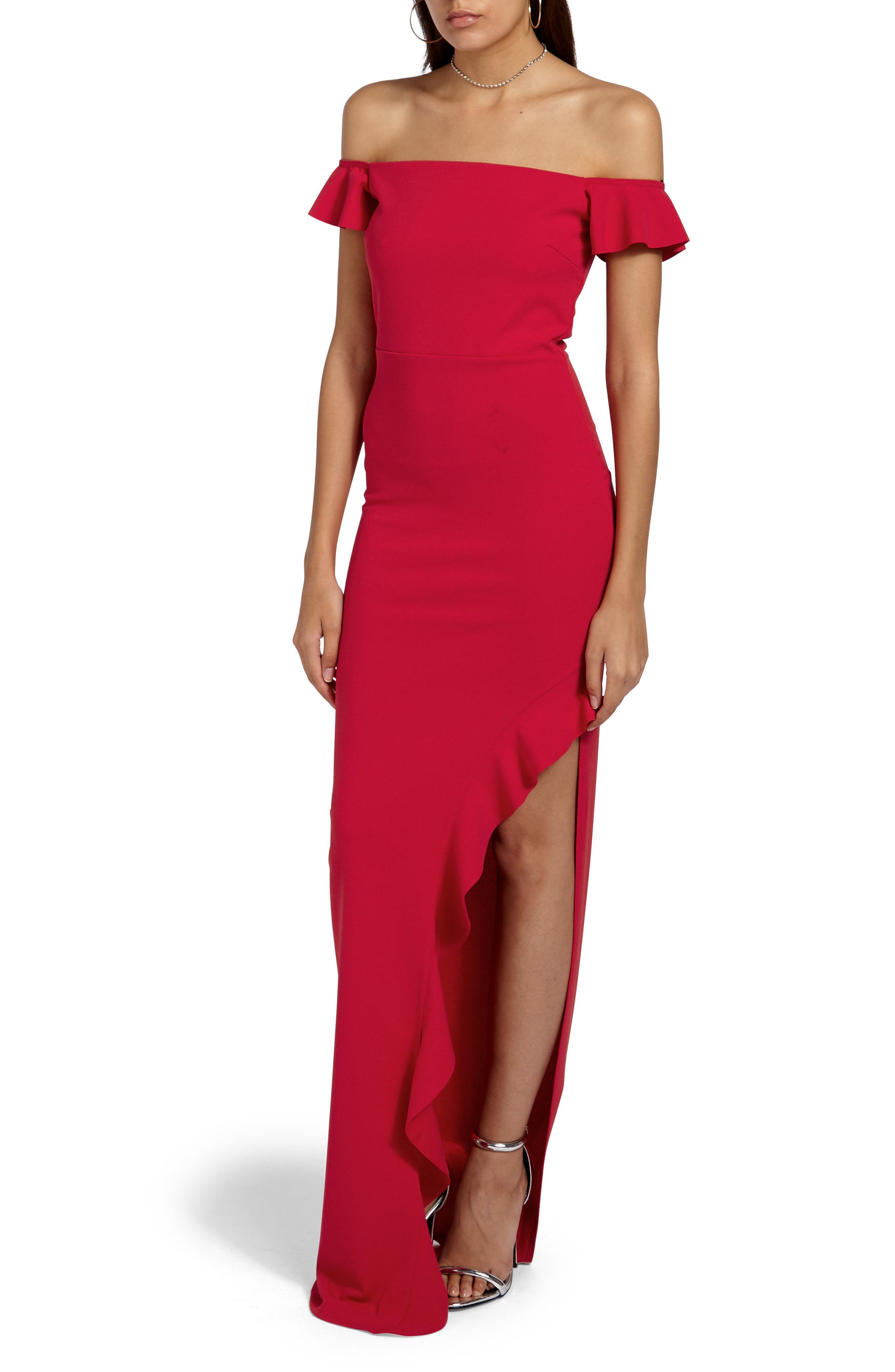 Bardot Gown,                         Main,                         color, Red