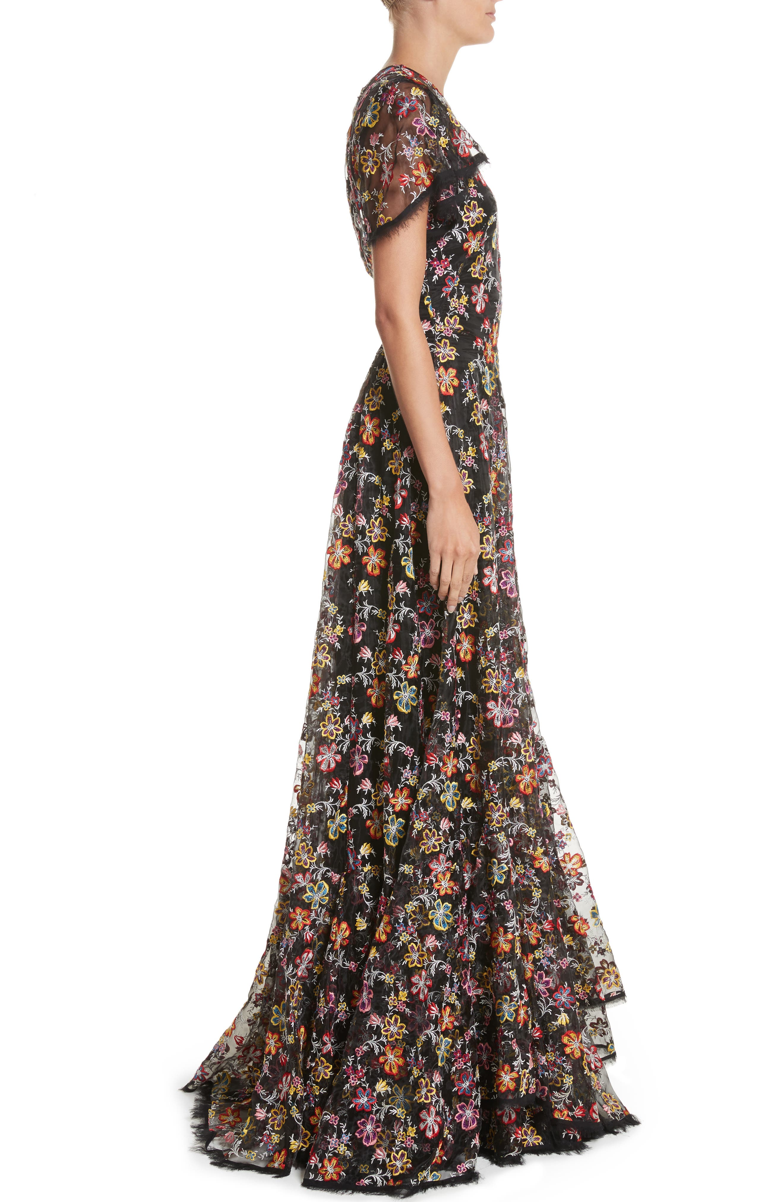 Embroidered Organza Flutter Sleeve Gown,                             Alternate thumbnail 3, color,                             Multi Floral