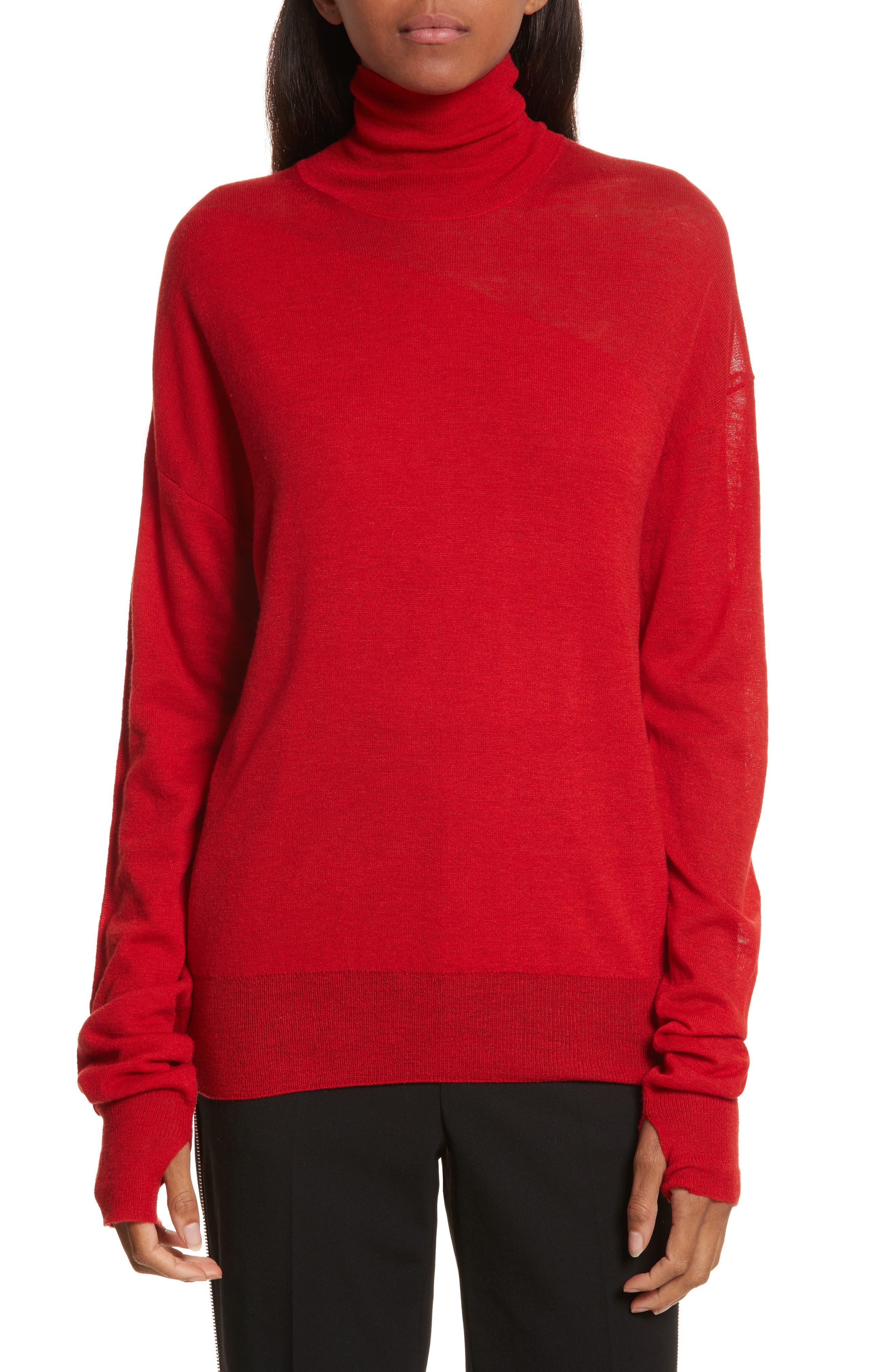 Sheer Panel Wool & Silk Turtleneck Sweater,                         Main,                         color, Siren