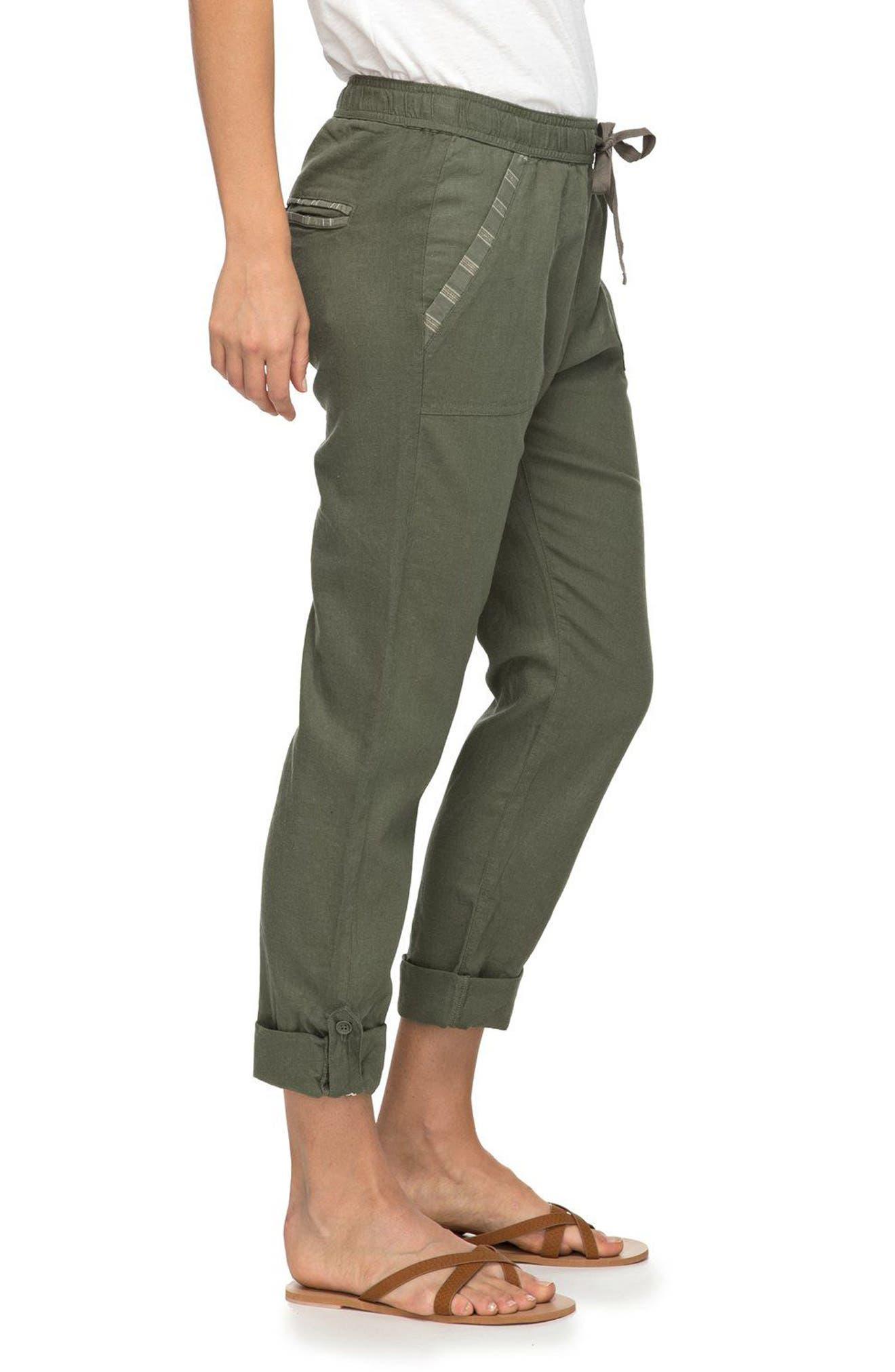 Symphony Lover Linen Blend Pants,                             Alternate thumbnail 4, color,                             Dusty Olive