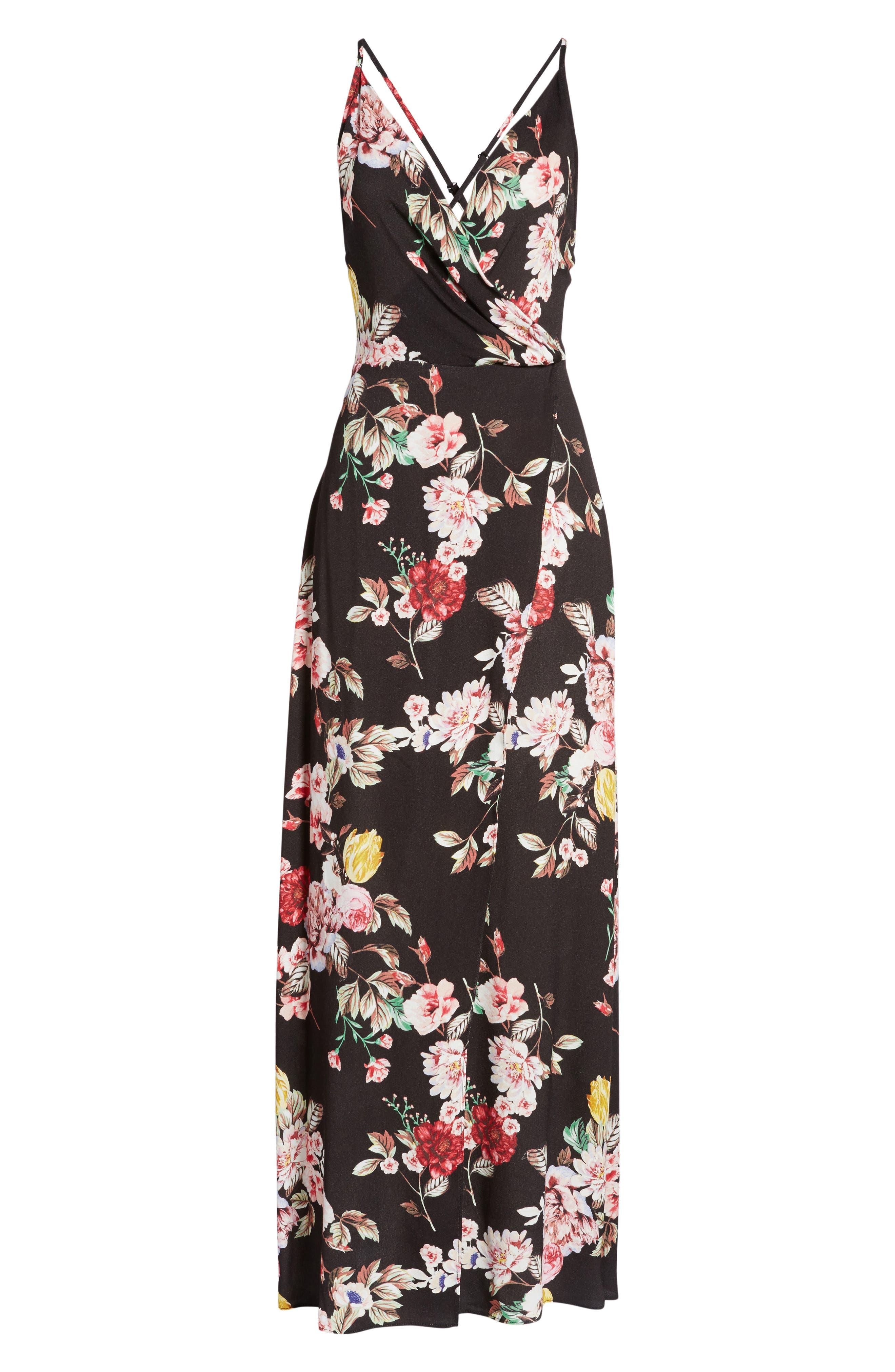 Kinsely Faux-Wrap Maxi Dress,                             Alternate thumbnail 6, color,                             Primrose Noir
