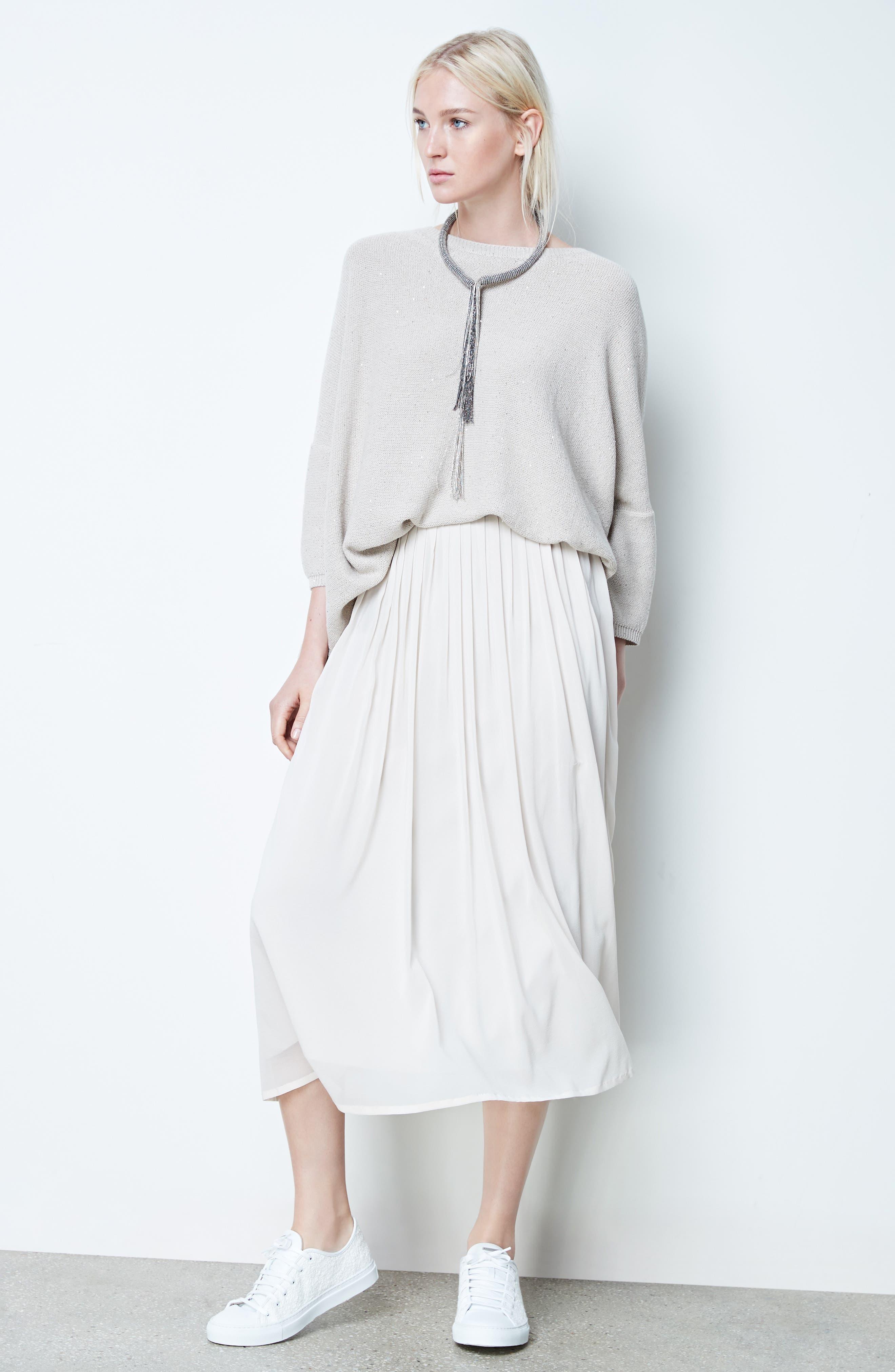 Pleated Chiffon Midi Skirt,                             Alternate thumbnail 2, color,                             Ecru