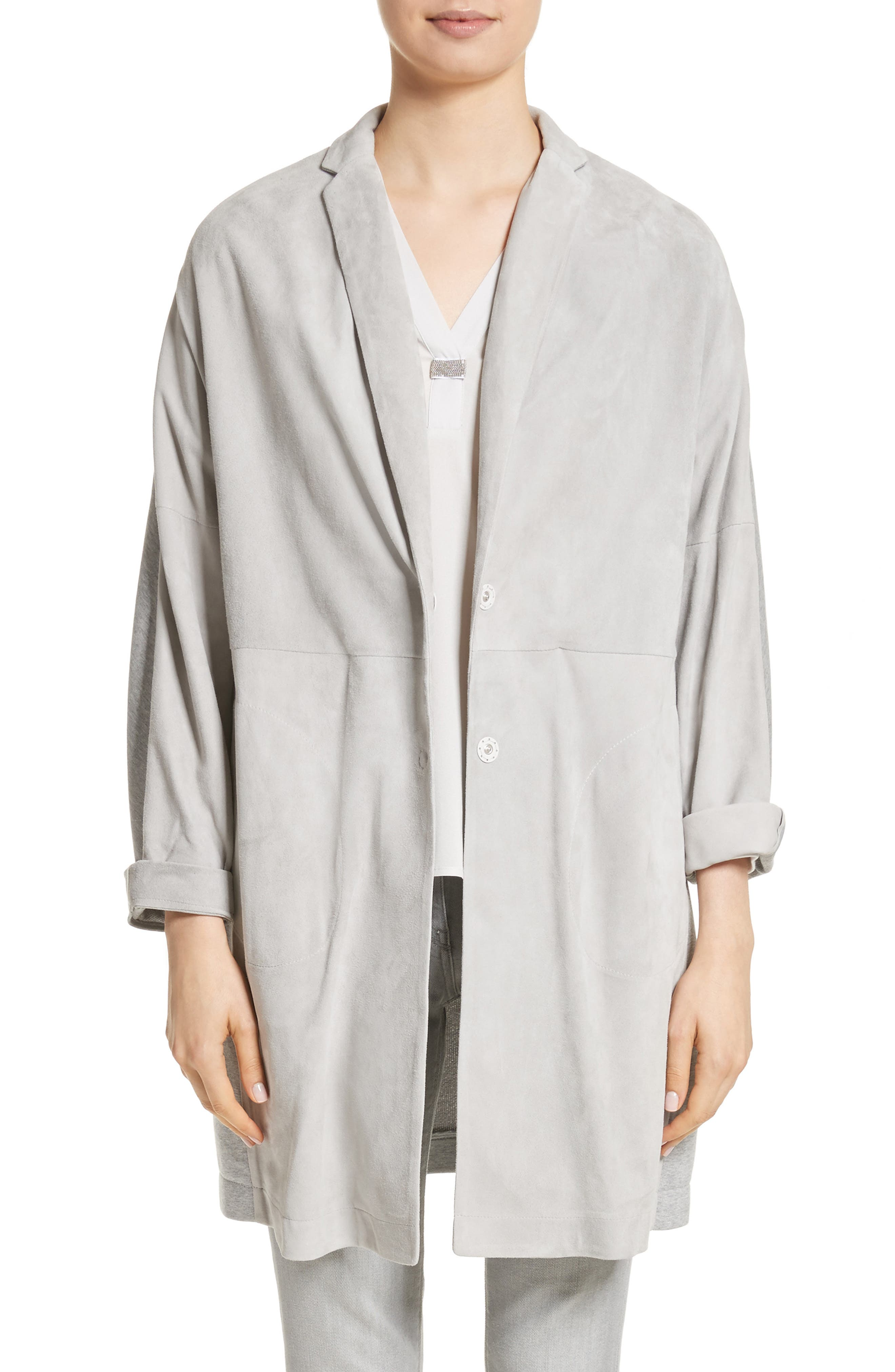 Suede Front Jersey Jacket,                         Main,                         color, Grey