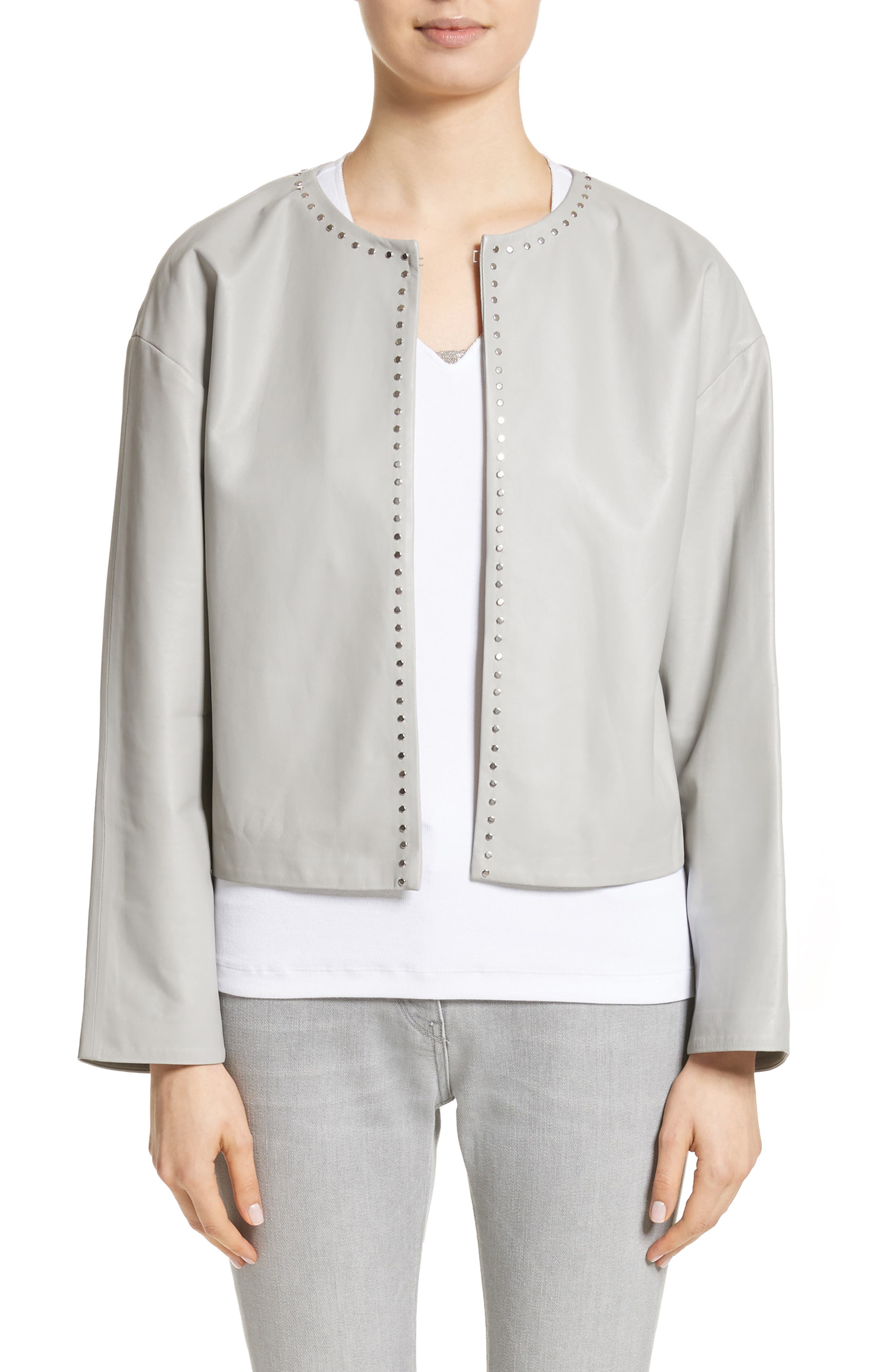 Studded Nappa Leather Jacket,                         Main,                         color, Grey