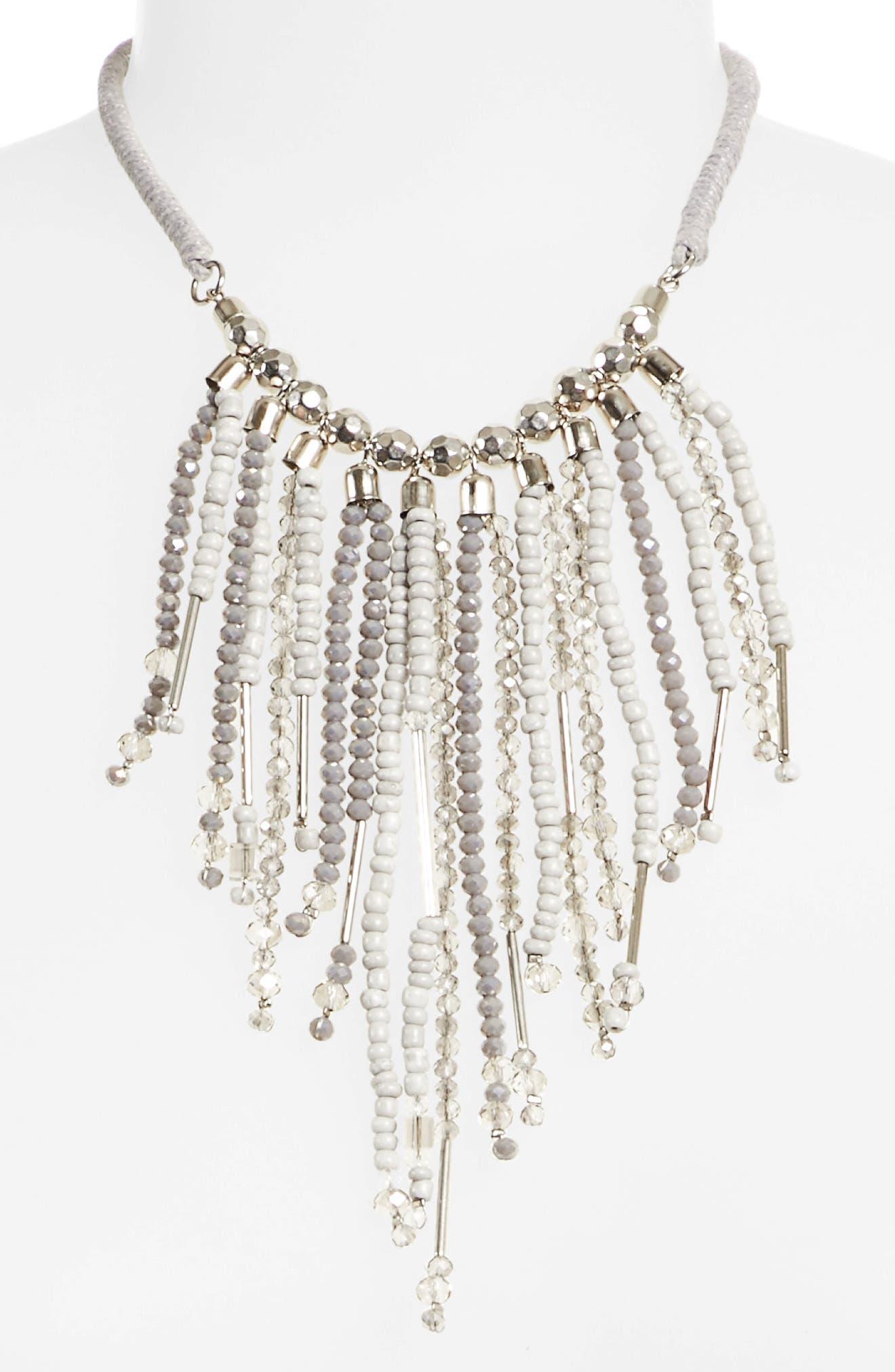 Beaded Fringe Necklace,                             Alternate thumbnail 2, color,                             Silver Grey Multi