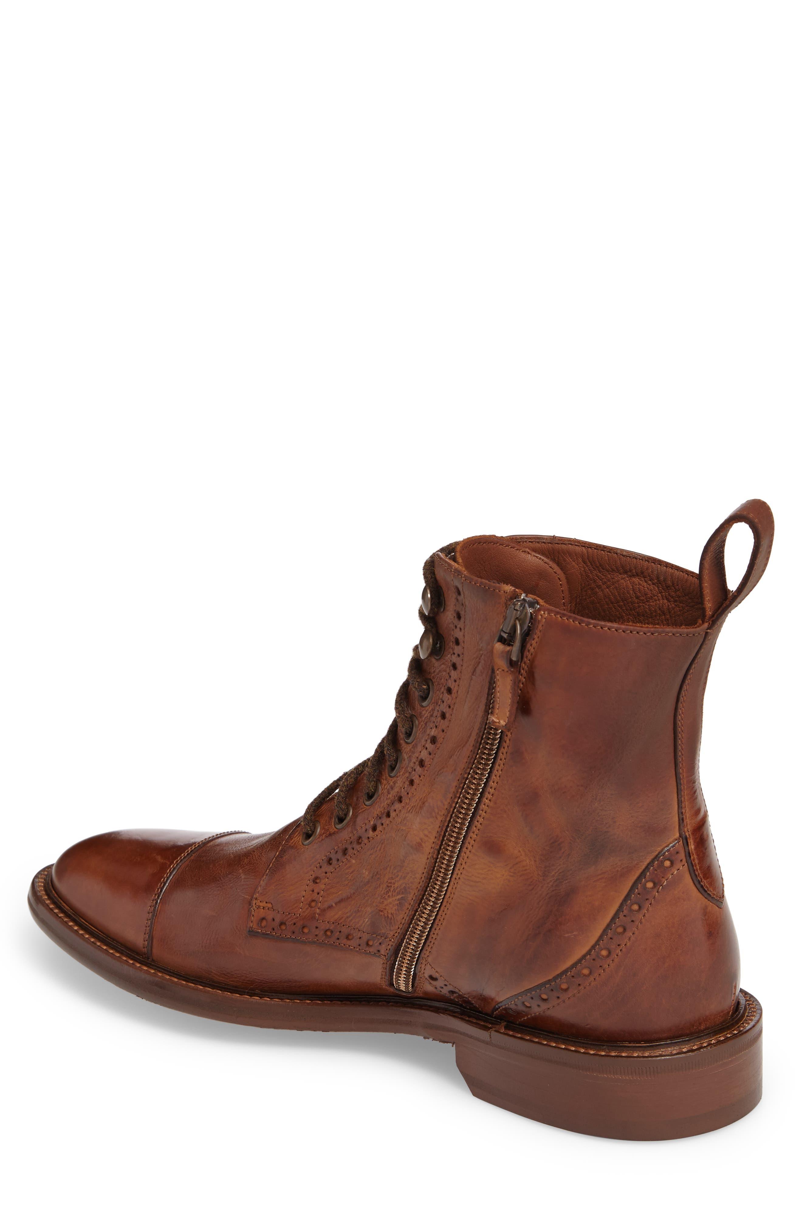 Bryson Cap Toe Boot,                             Alternate thumbnail 2, color,                             Mahogany Leather