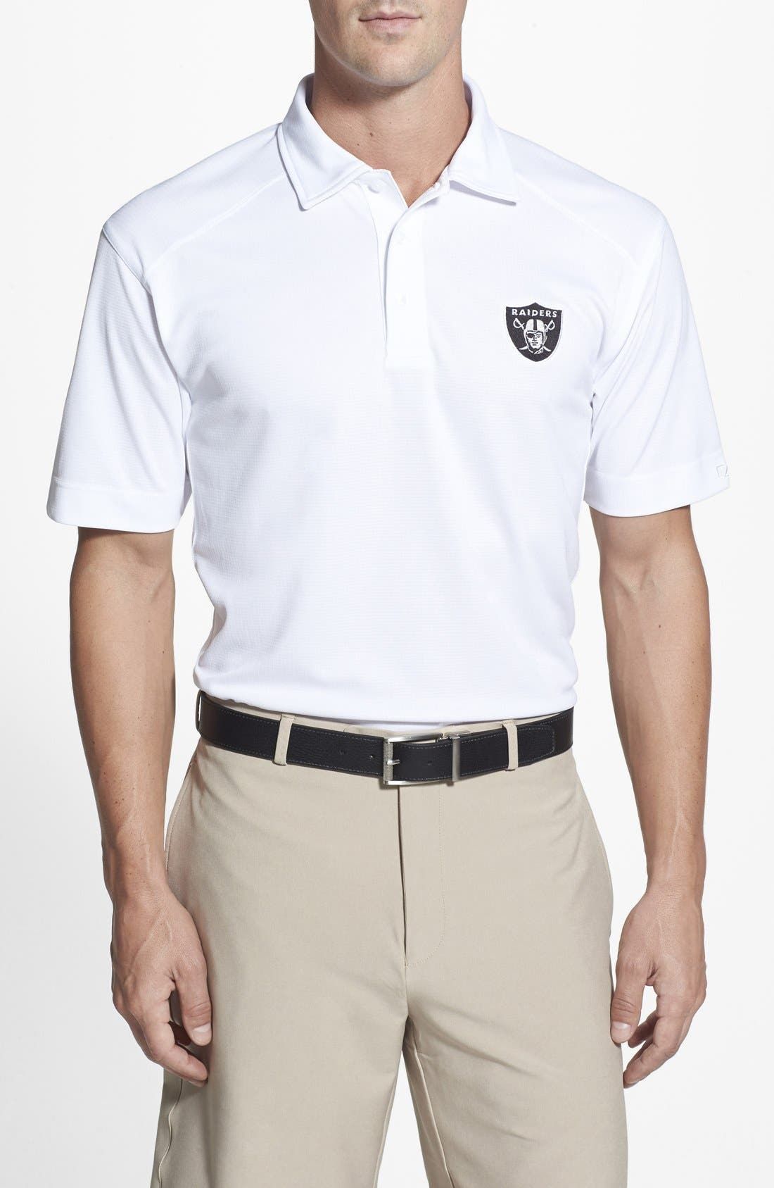 Oakland Raiders - Genre DryTec Moisture Wicking Polo,                             Main thumbnail 1, color,                             White