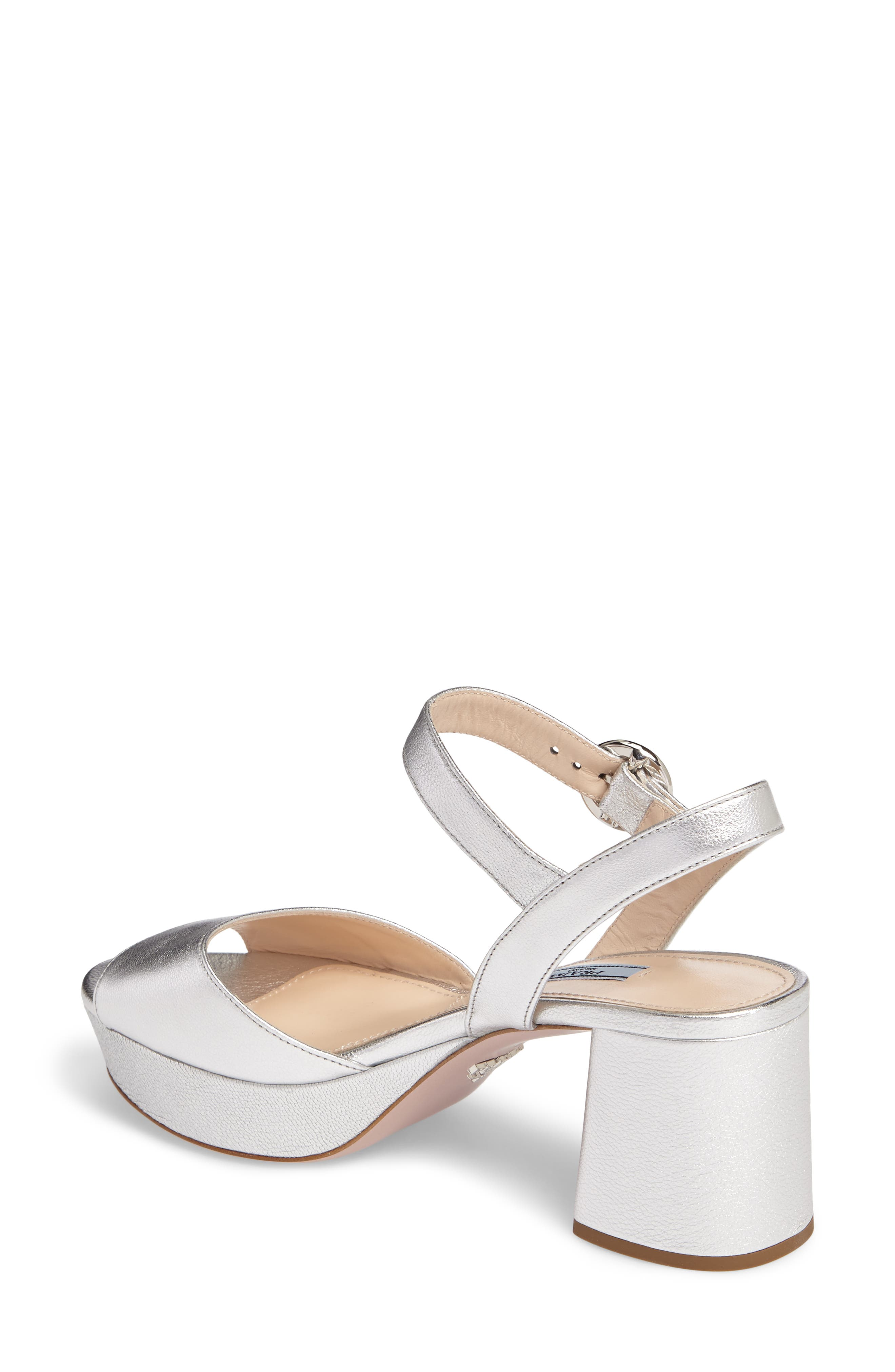 Ankle Strap Platform Sandal,                             Alternate thumbnail 2, color,                             Silver