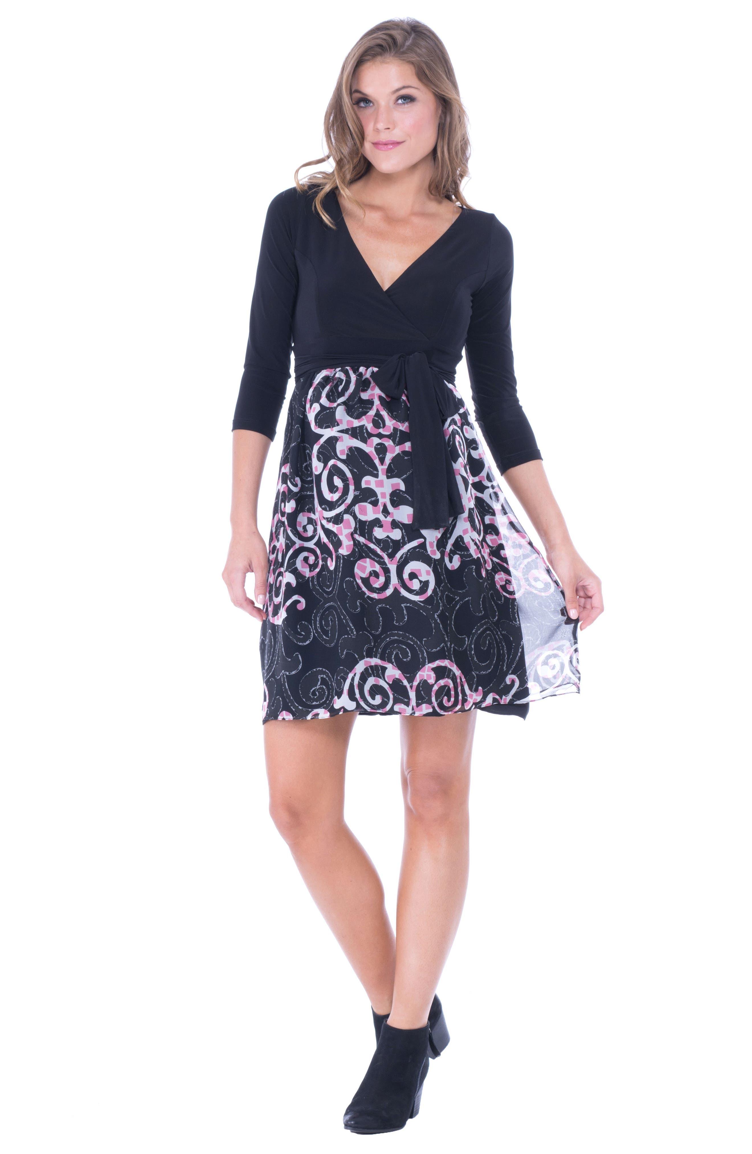 Alternate Image 2  - Olian Print Faux Wrap Maternity Dress